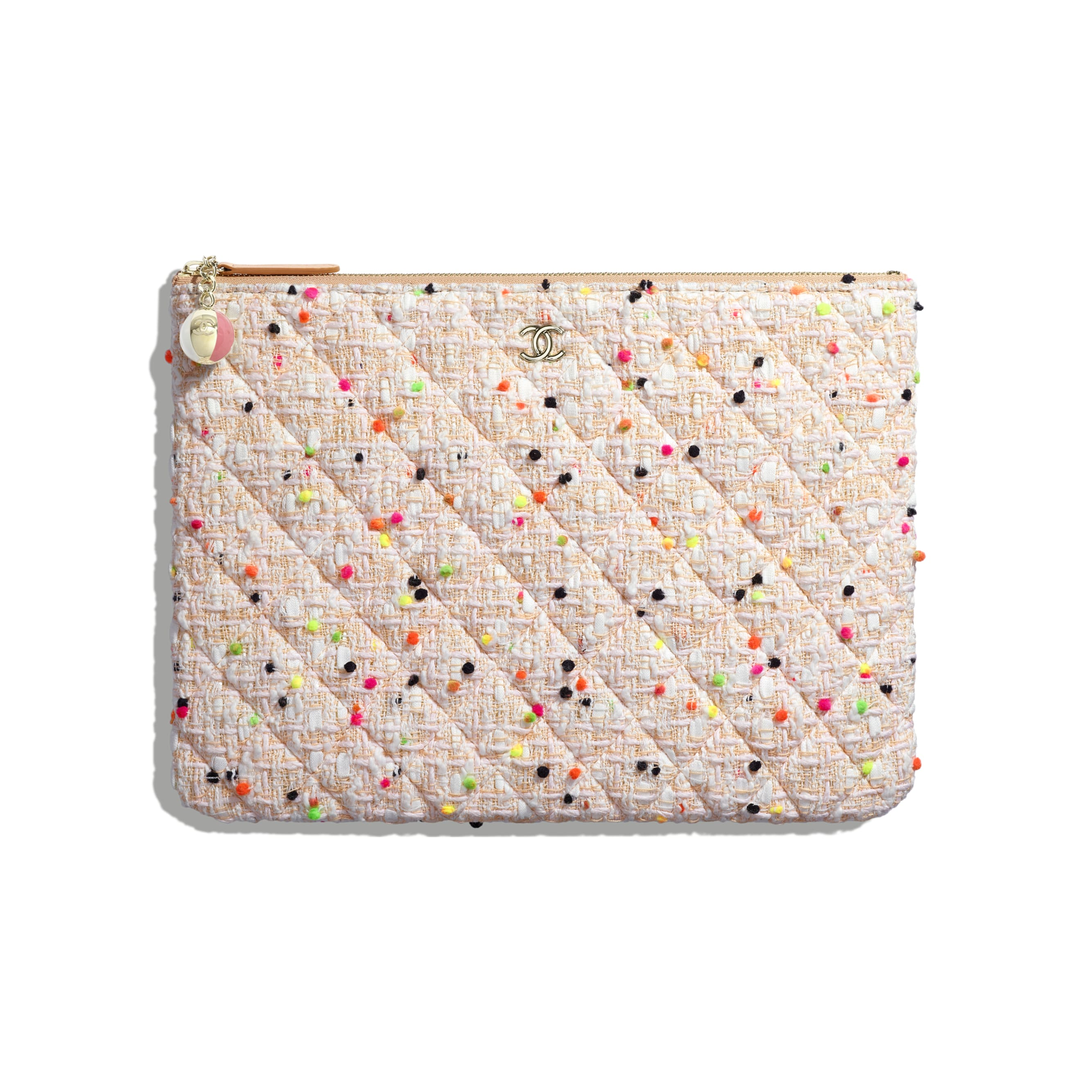 Classic Pouch - Coral & White - Cotton Tweed & Gold-Tone Metal - Default view - see standard sized version