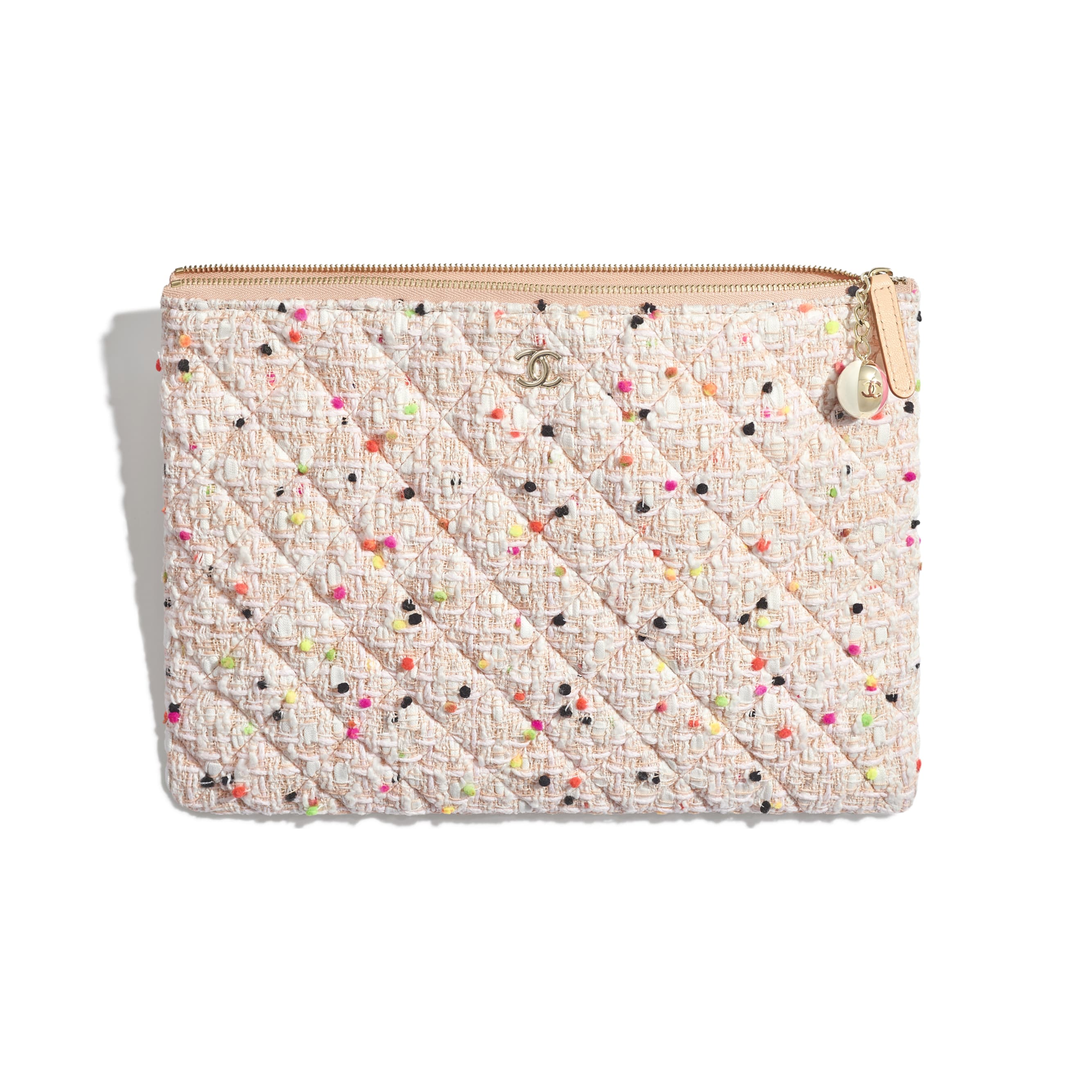 Classic Pouch - Coral & White - Cotton Tweed & Gold-Tone Metal - Other view - see standard sized version