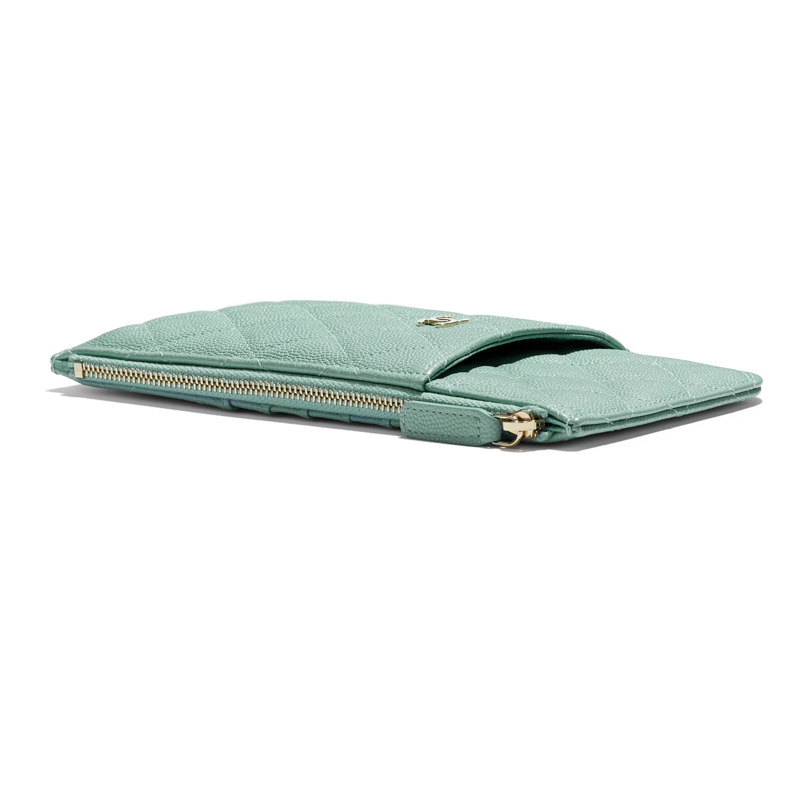 Classic Pouch for iPhone - Blue - Grained Calfskin & Gold-Tone Metal - Extra view - see standard sized version