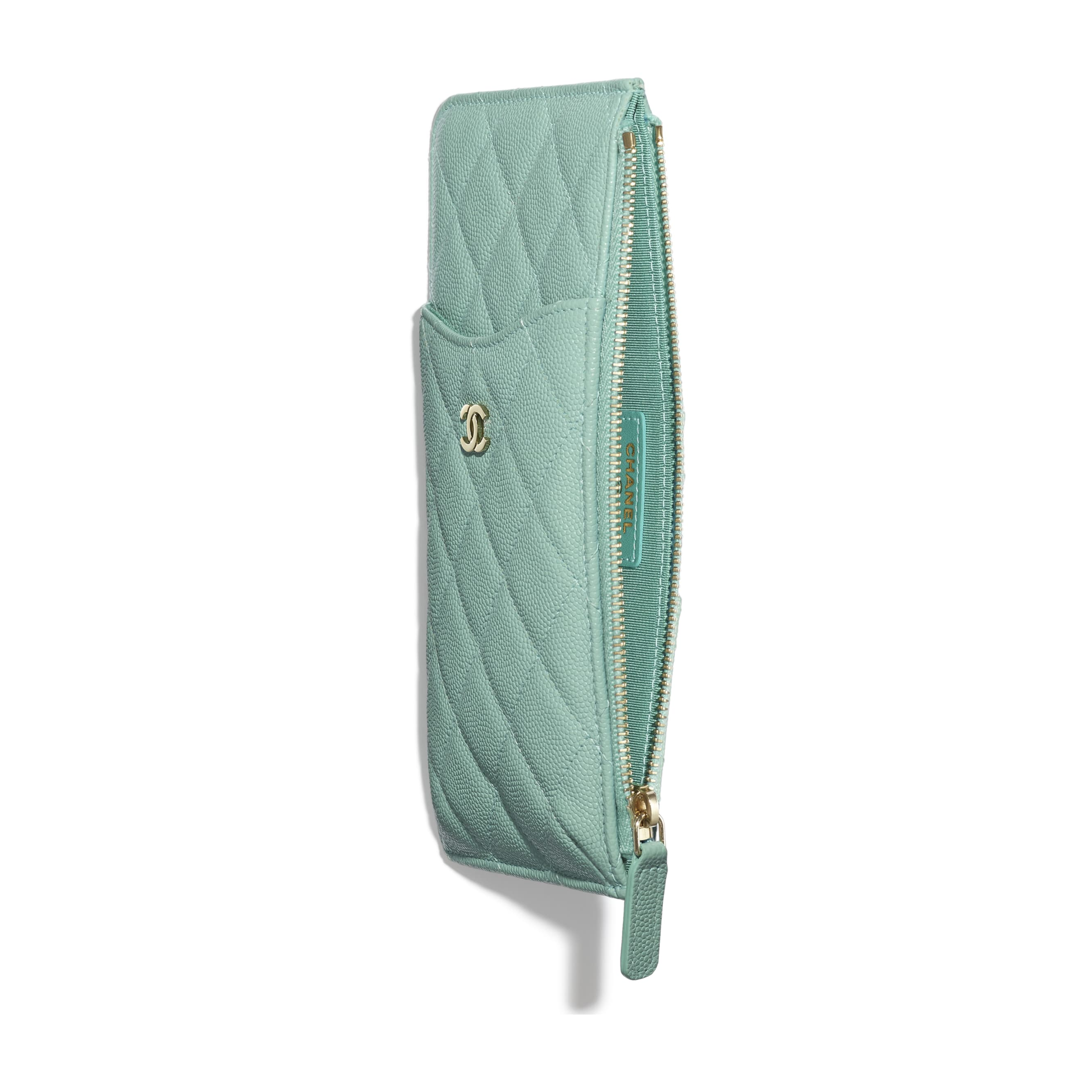 Classic Pouch for iPhone - Blue - Grained Calfskin & Gold-Tone Metal - Other view - see standard sized version