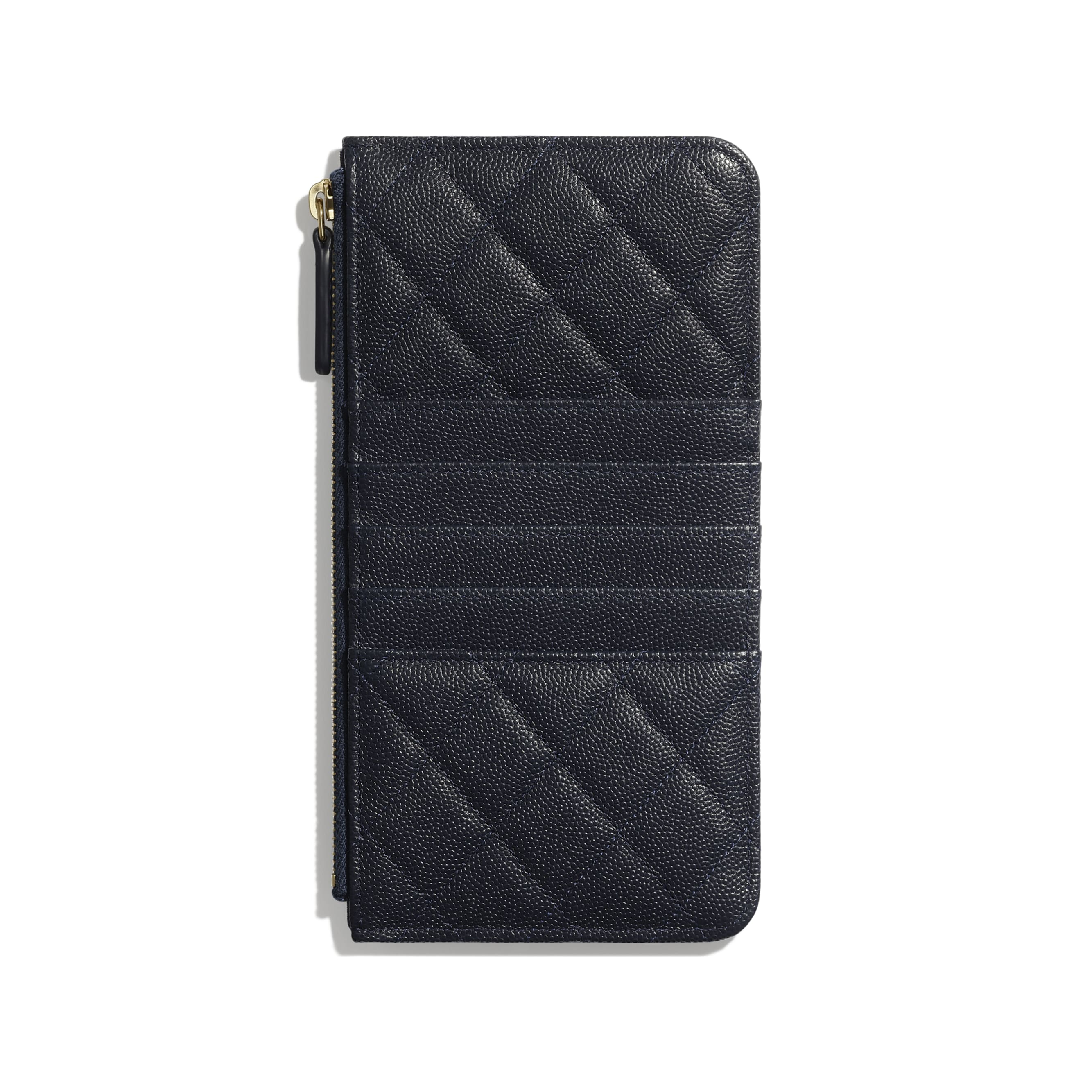 Classic Pouch for iPhone - Navy Blue - Grained Calfskin & Gold-Tone Metal - Alternative view - see standard sized version