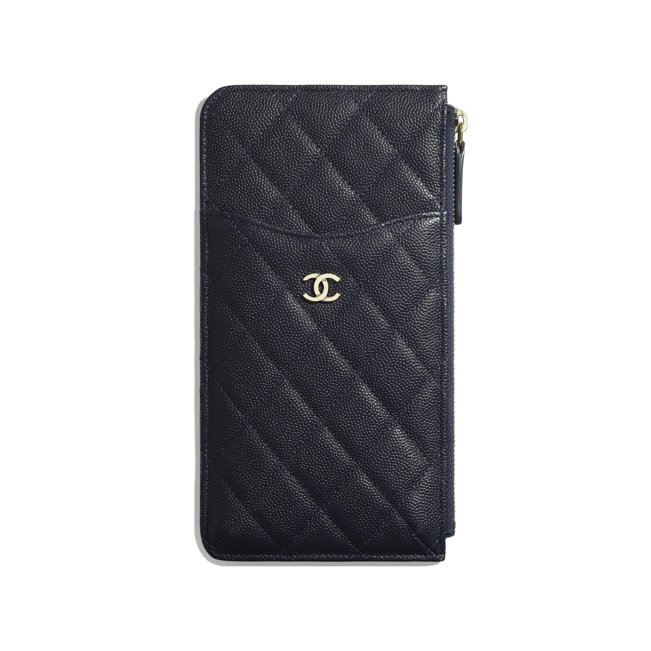 Classic Pouch for iPhone - Navy Blue - Grained Calfskin & Gold-Tone Metal - Default view - see standard sized version