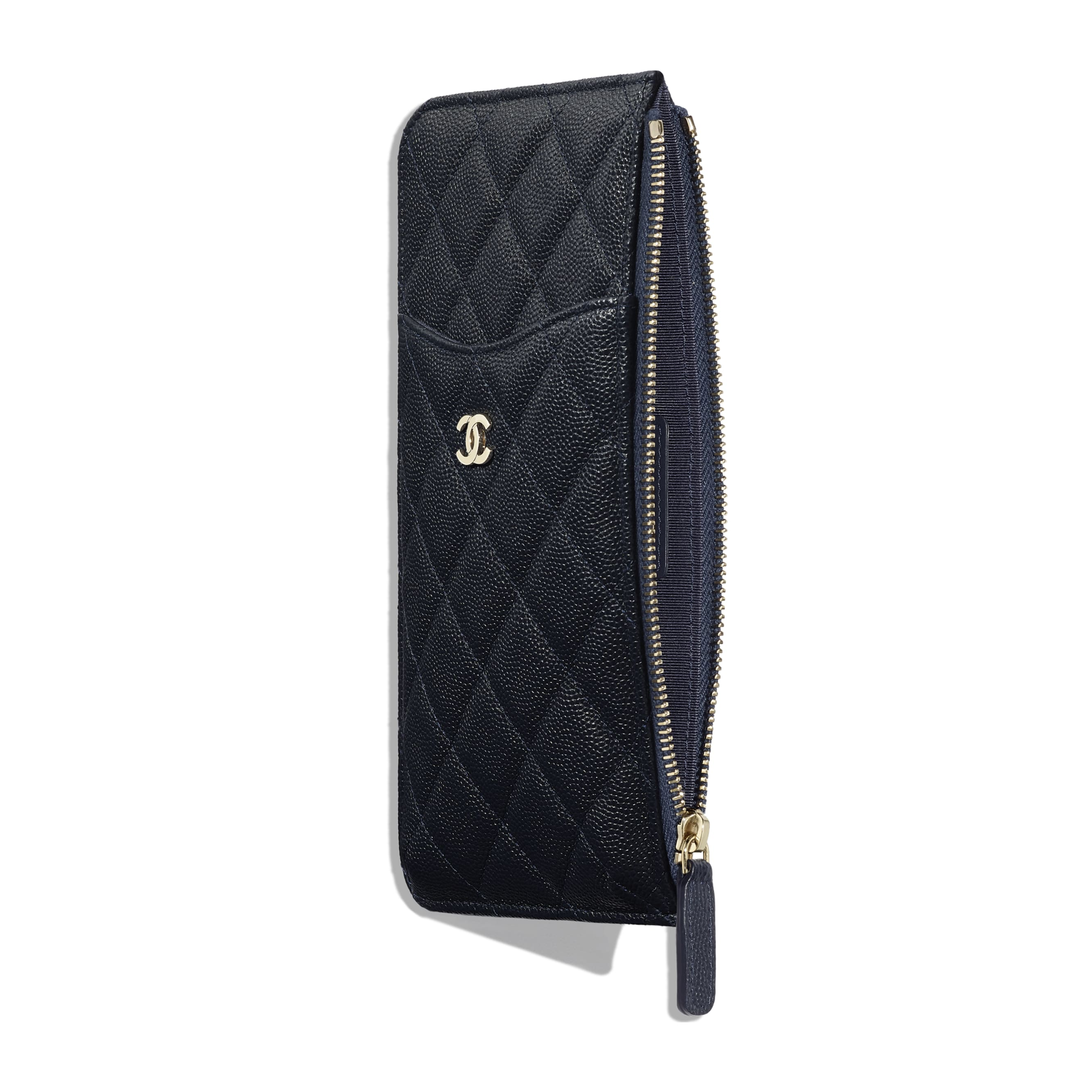 Classic Pouch for iPhone - Navy Blue - Grained Calfskin & Gold-Tone Metal - Other view - see standard sized version
