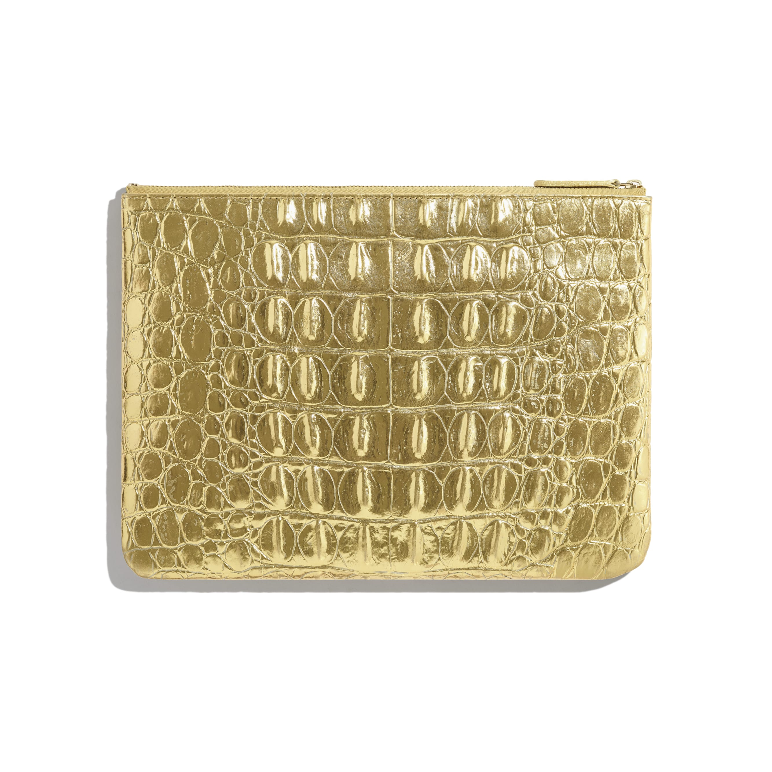 Classic Pouch - Gold - Metallic Crocodile Embossed Calfskin & Gold Metal - Alternative view - see standard sized version