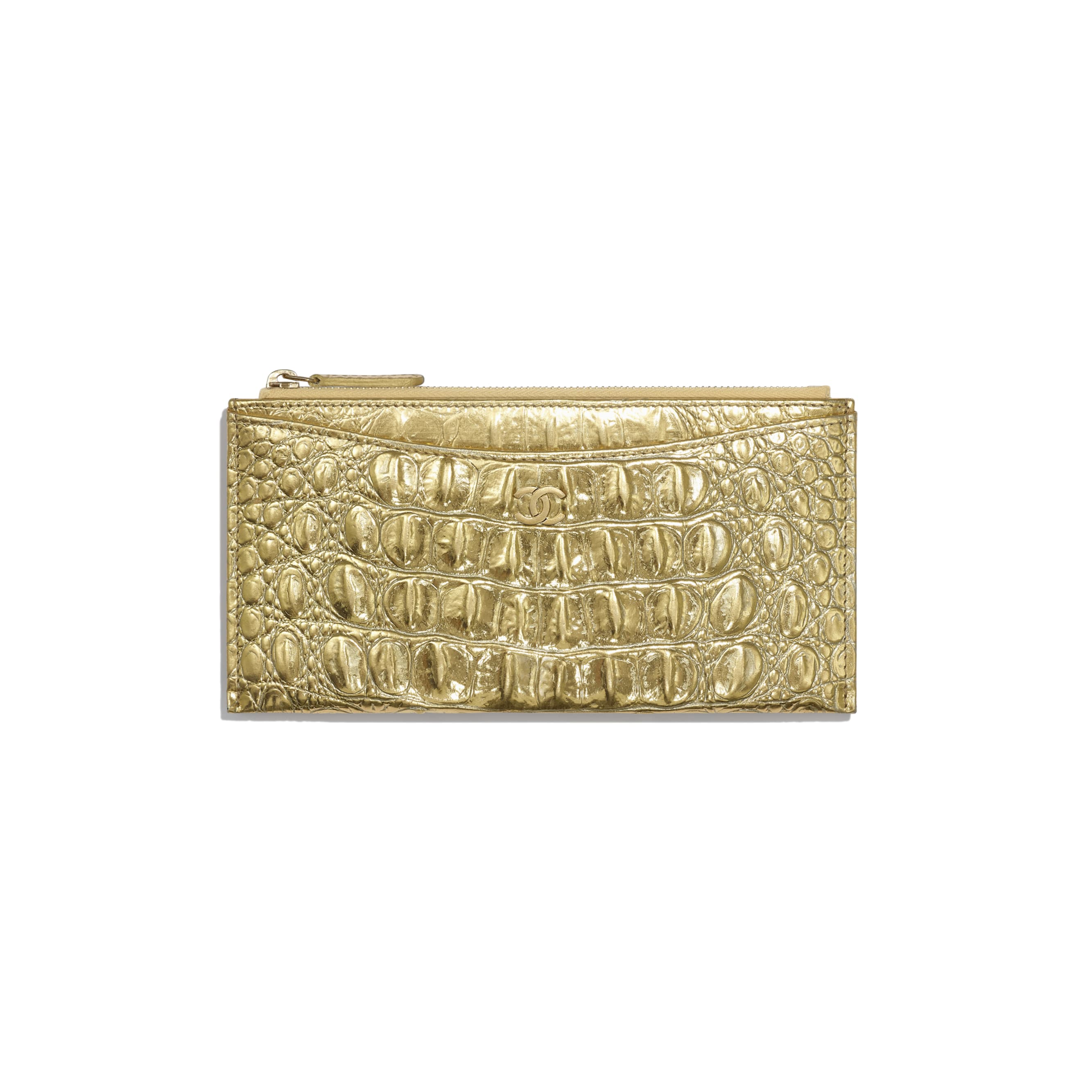 Classic Pouch - Gold - Metallic Crocodile Embossed Calfskin & Gold Metal - Default view - see standard sized version