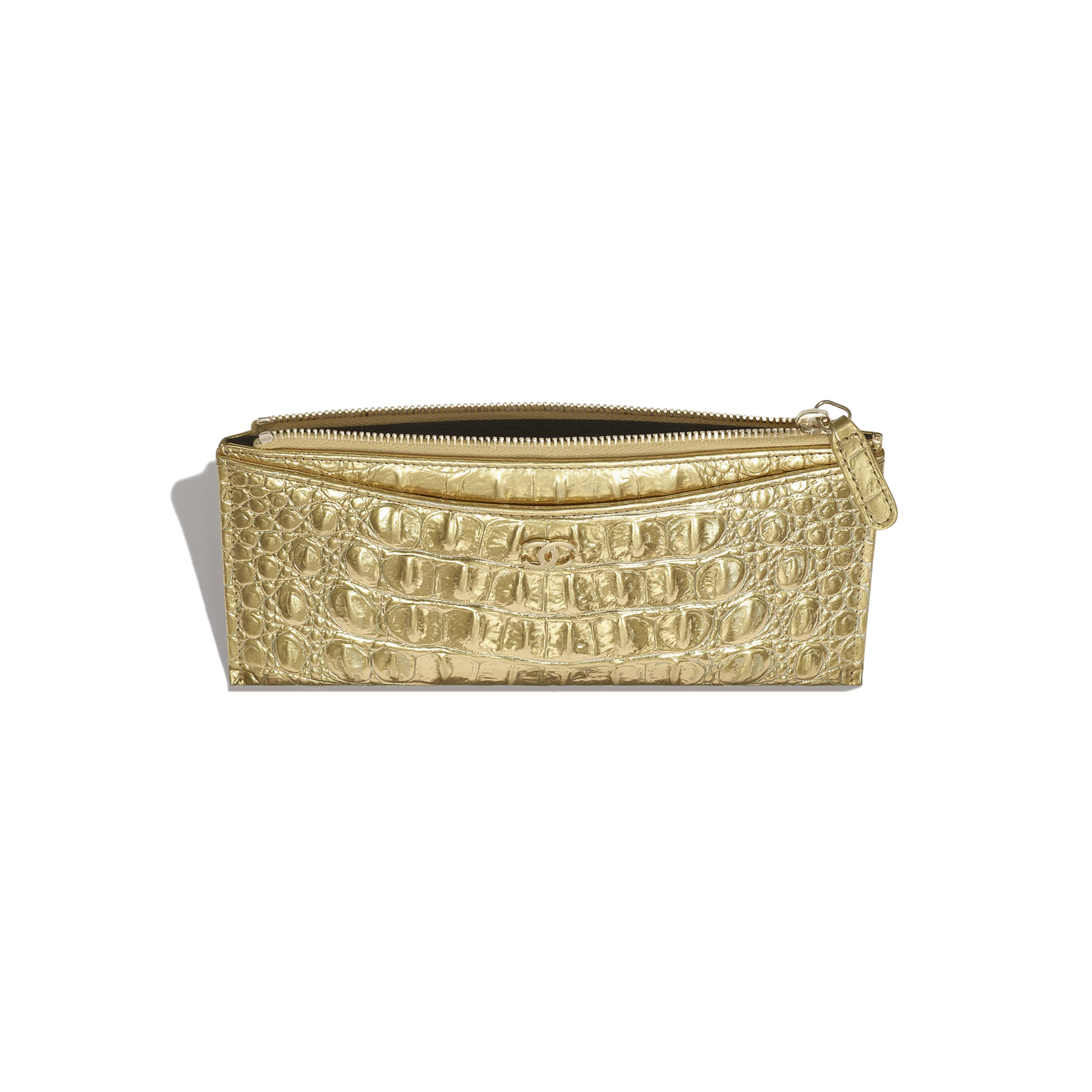 Classic Pouch - Gold - Metallic Crocodile Embossed Calfskin & Gold Metal - Other view - see standard sized version