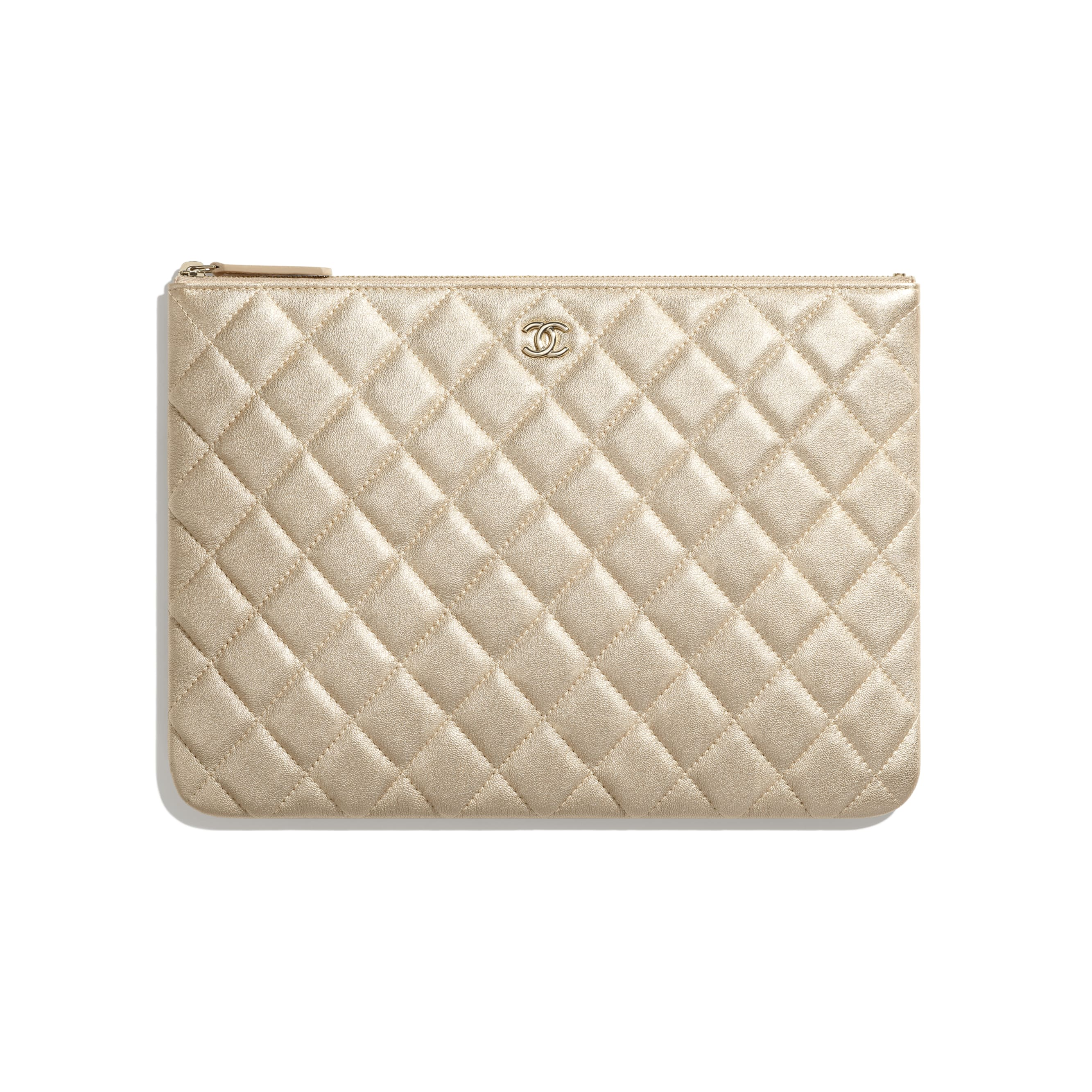 Classic Pouch - Gold - Metallic Lambskin & Gold Metal - CHANEL - Default view - see standard sized version