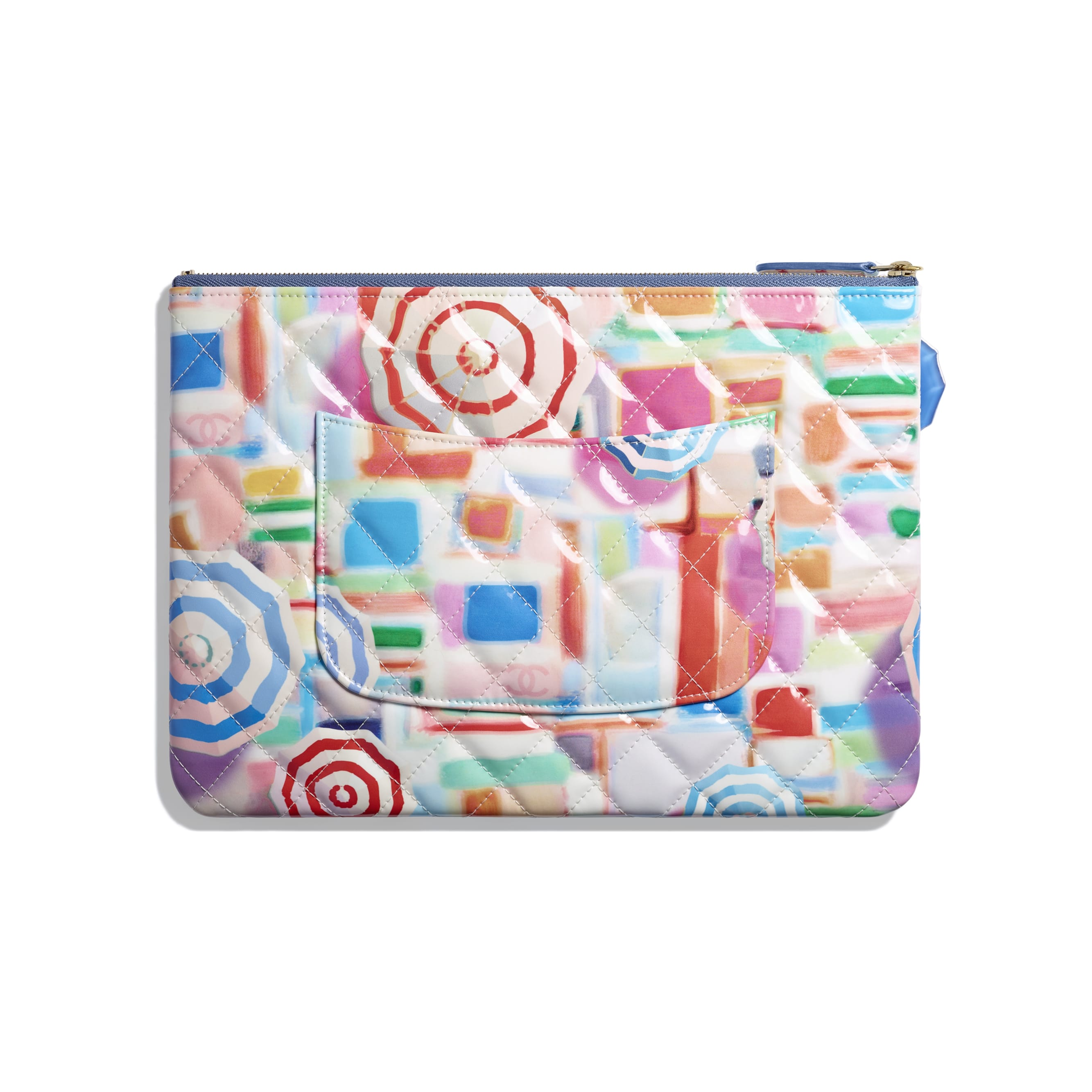Classic Pouch - Multicolor - Printed Patent Calfskin & Gold-Tone Metal - Alternative view - see standard sized version