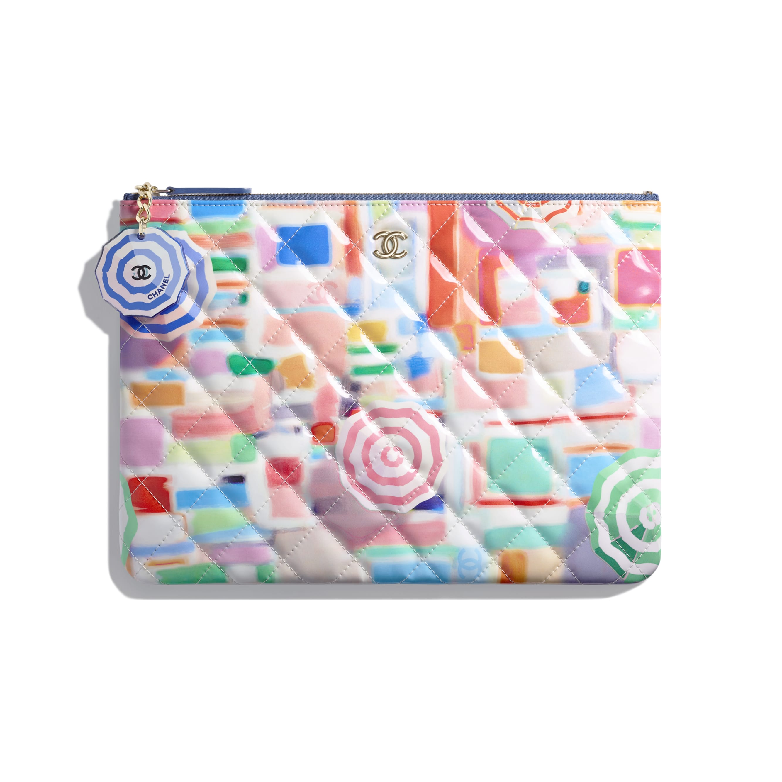 Classic Pouch - Multicolor - Printed Patent Calfskin & Gold-Tone Metal - Default view - see standard sized version