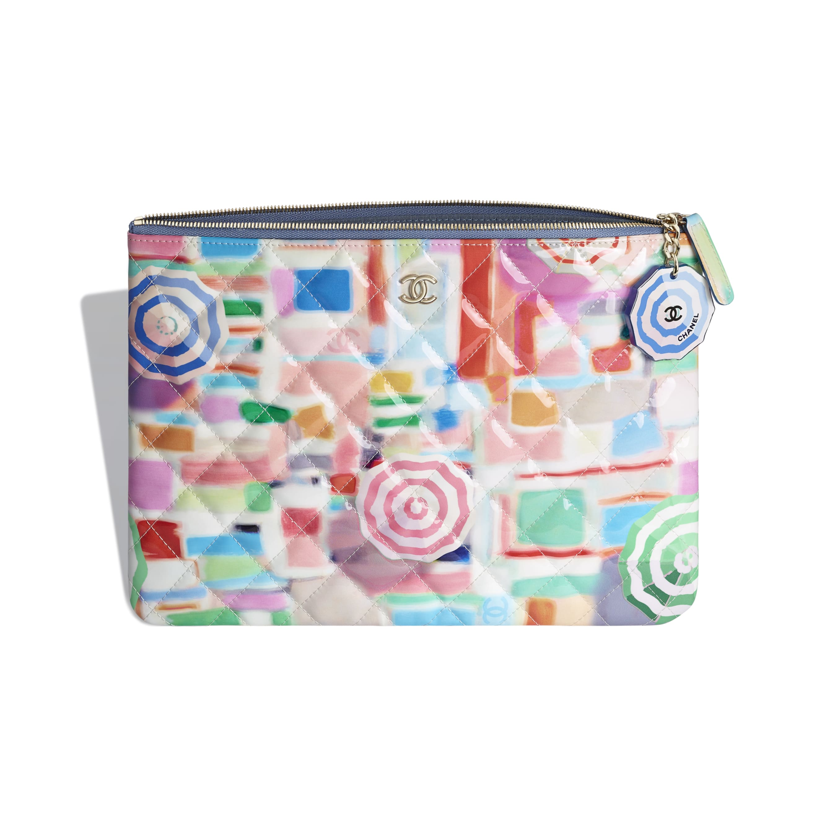 Classic Pouch - Multicolor - Printed Patent Calfskin & Gold-Tone Metal - Other view - see standard sized version