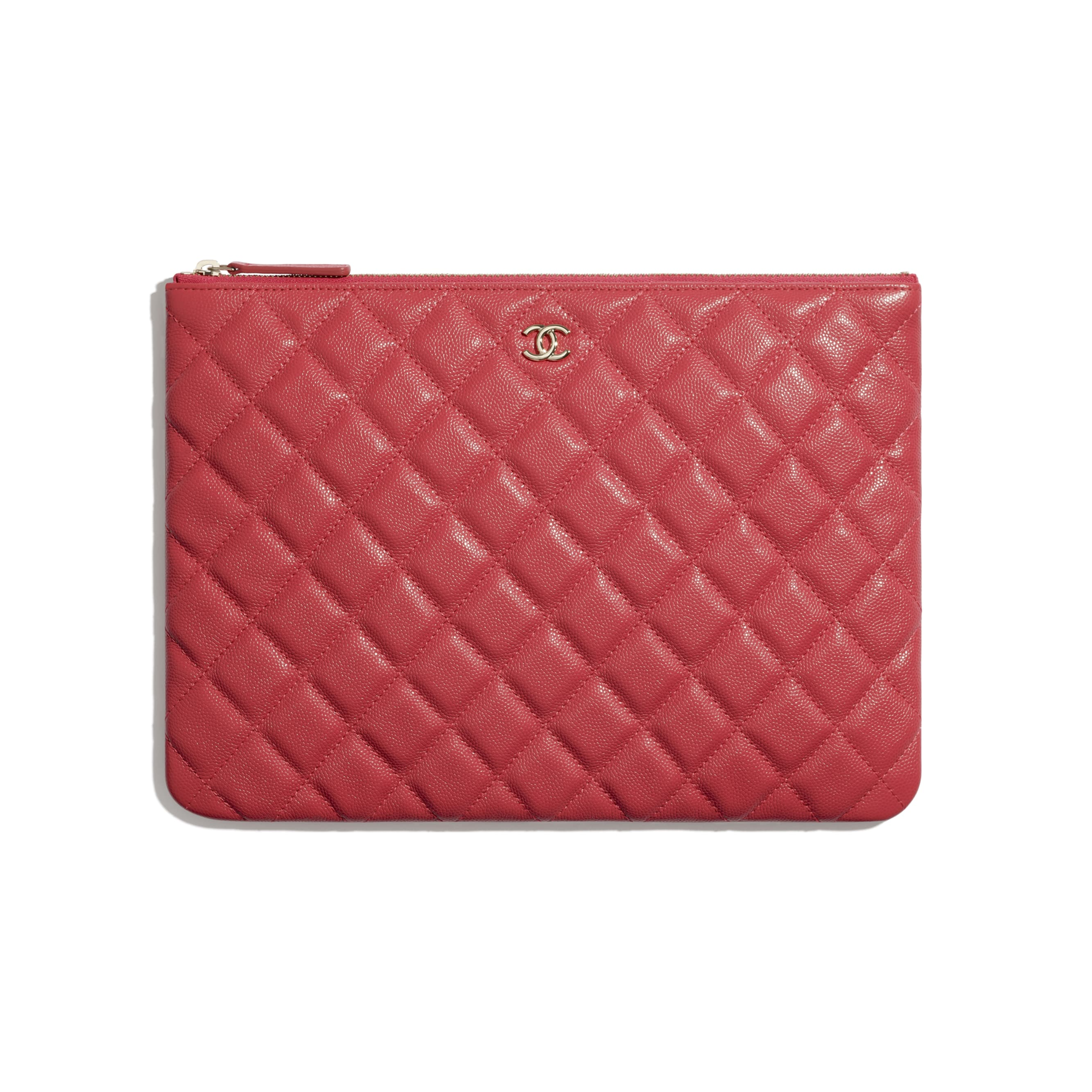 Classic Pouch - Red - Grained Shiny Calfskin & Gold-Tone Metal - CHANEL - Default view - see standard sized version