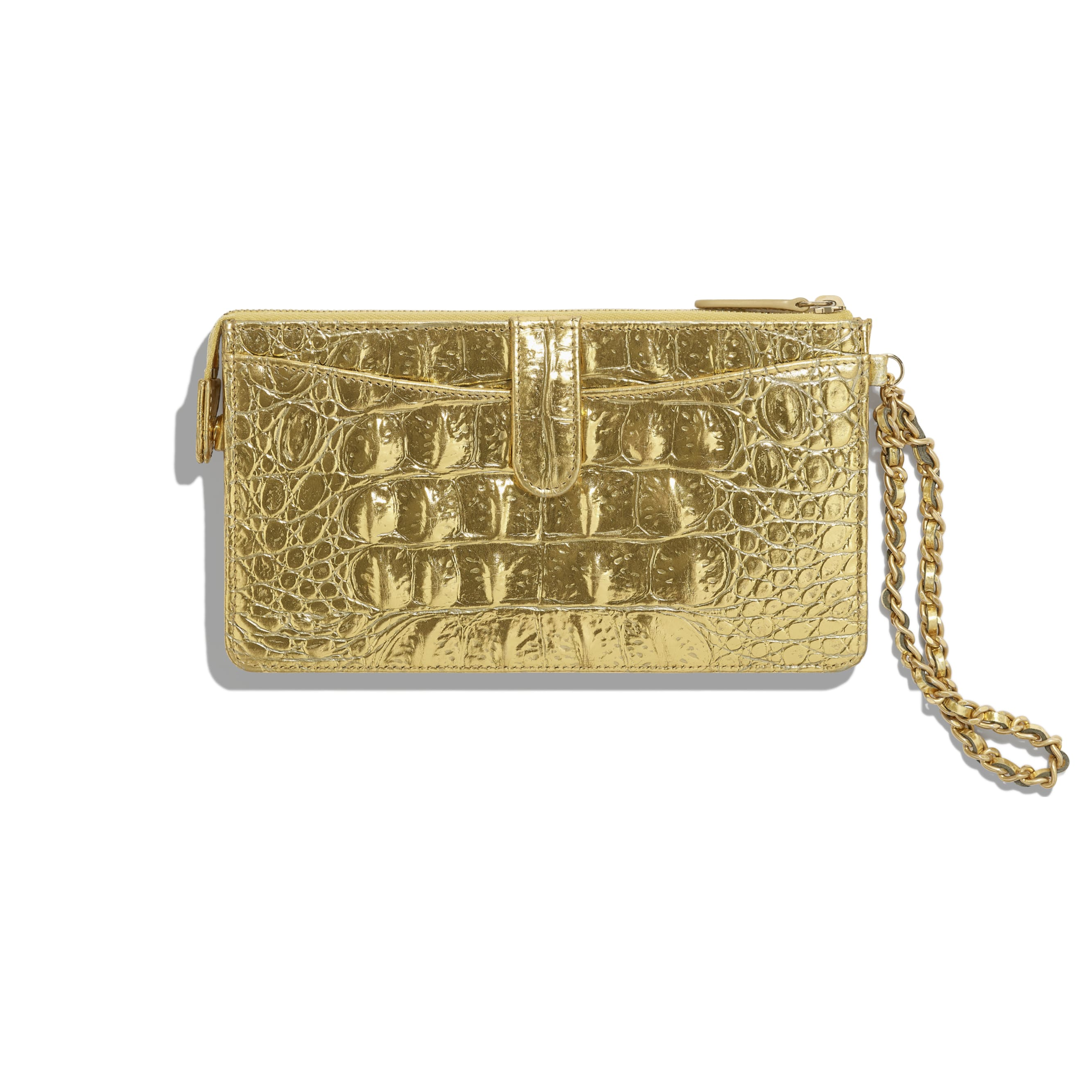 Classic Pouch with Handle - Gold - Metallic Crocodile Embossed Calfskin & Gold Metal - Alternative view - see standard sized version