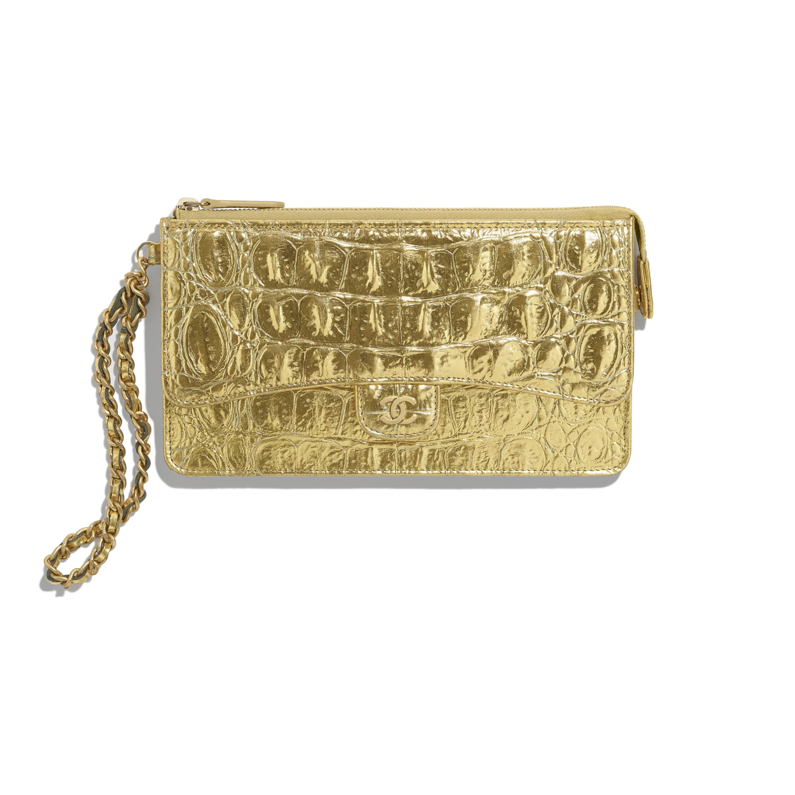 Classic Pouch with Handle - Gold - Metallic Crocodile Embossed Calfskin & Gold Metal - Default view - see standard sized version