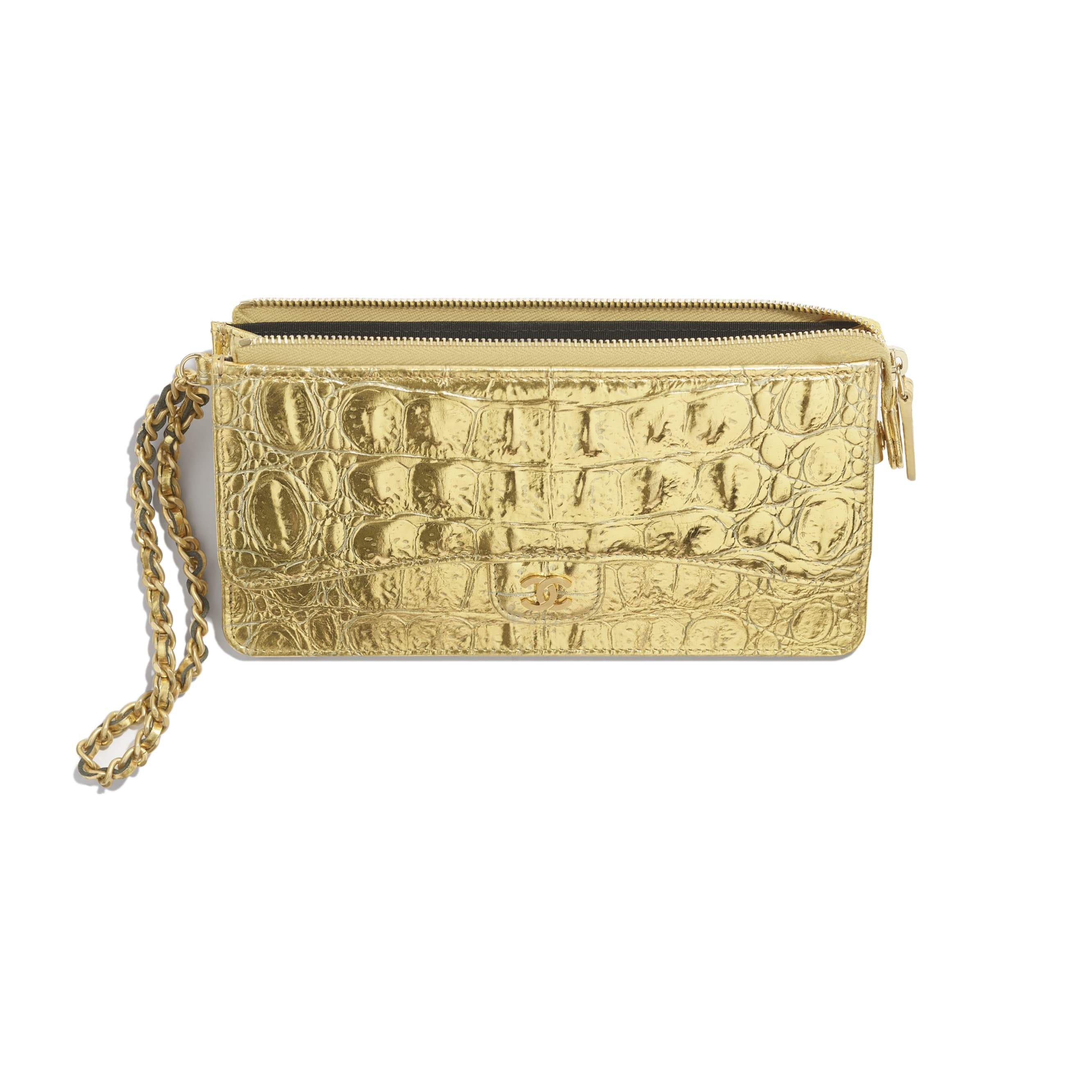Classic Pouch with Handle - Gold - Metallic Crocodile Embossed Calfskin & Gold Metal - Other view - see standard sized version