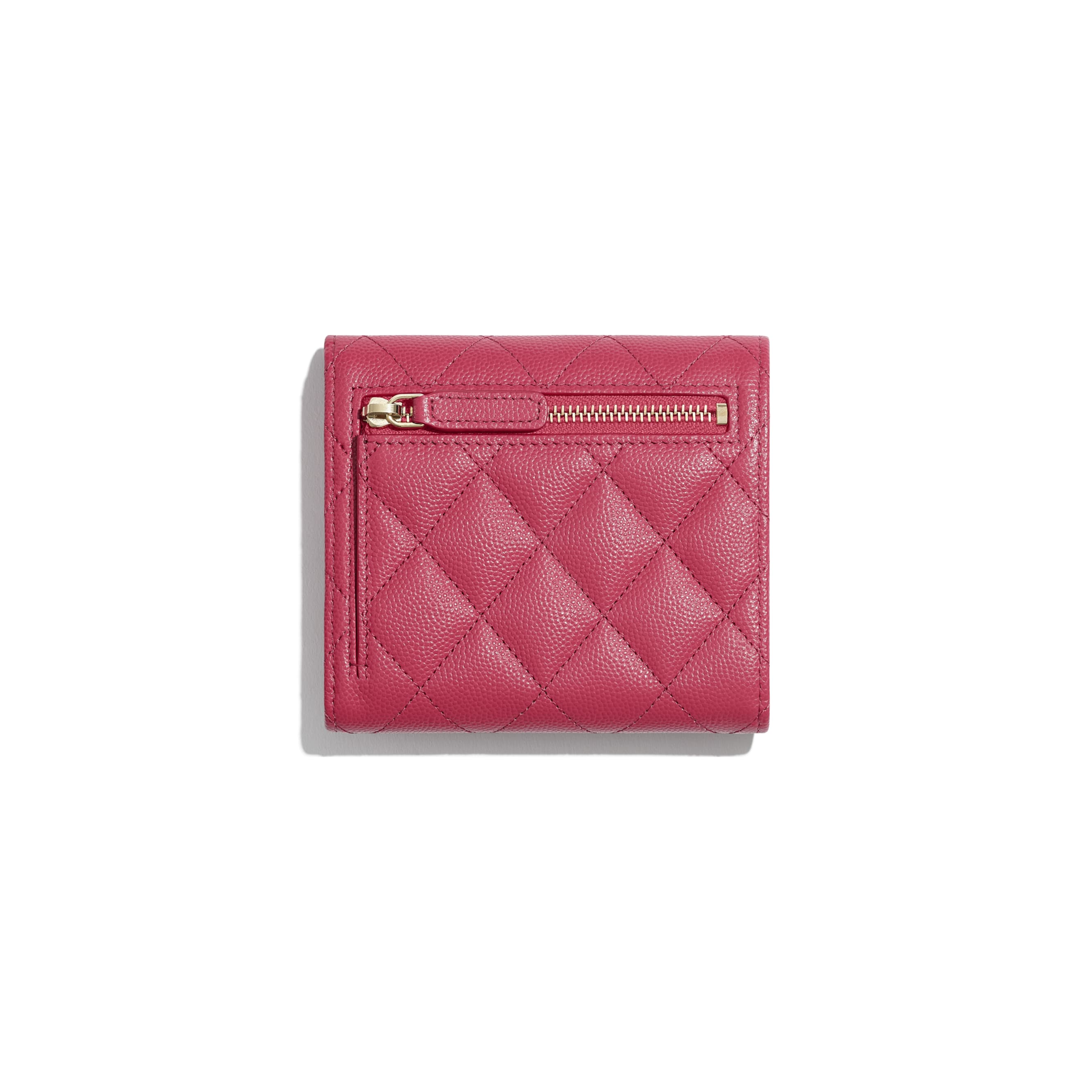 Classic Small Flap Wallet - Dark Pink - Grained Calfskin & Gold-Tone Metal - Alternative view - see standard sized version