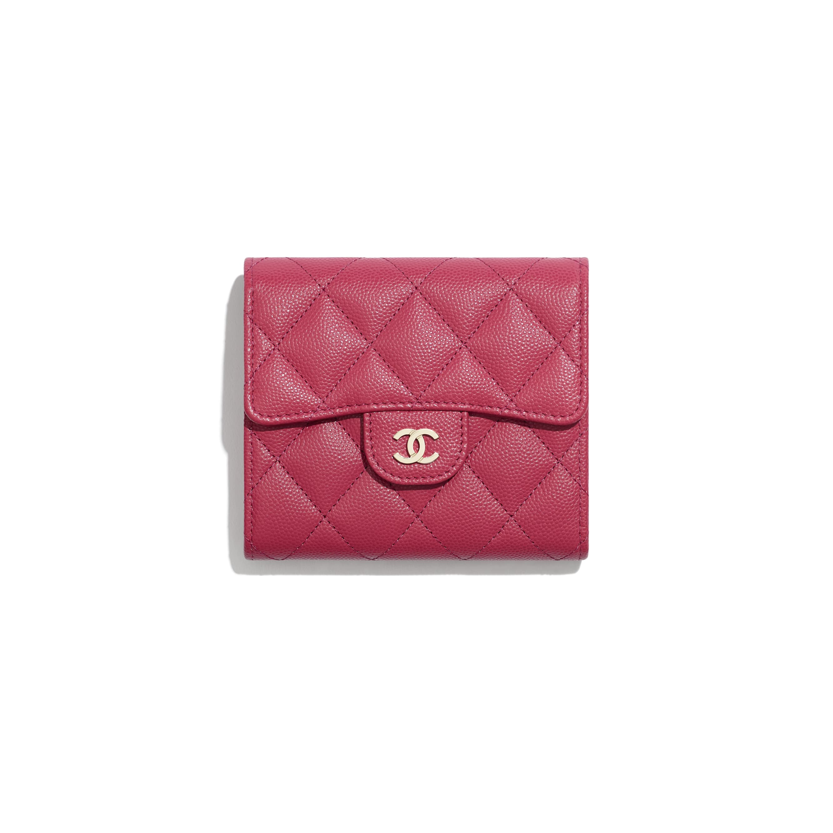Classic Small Flap Wallet - Dark Pink - Grained Calfskin & Gold-Tone Metal - Default view - see standard sized version