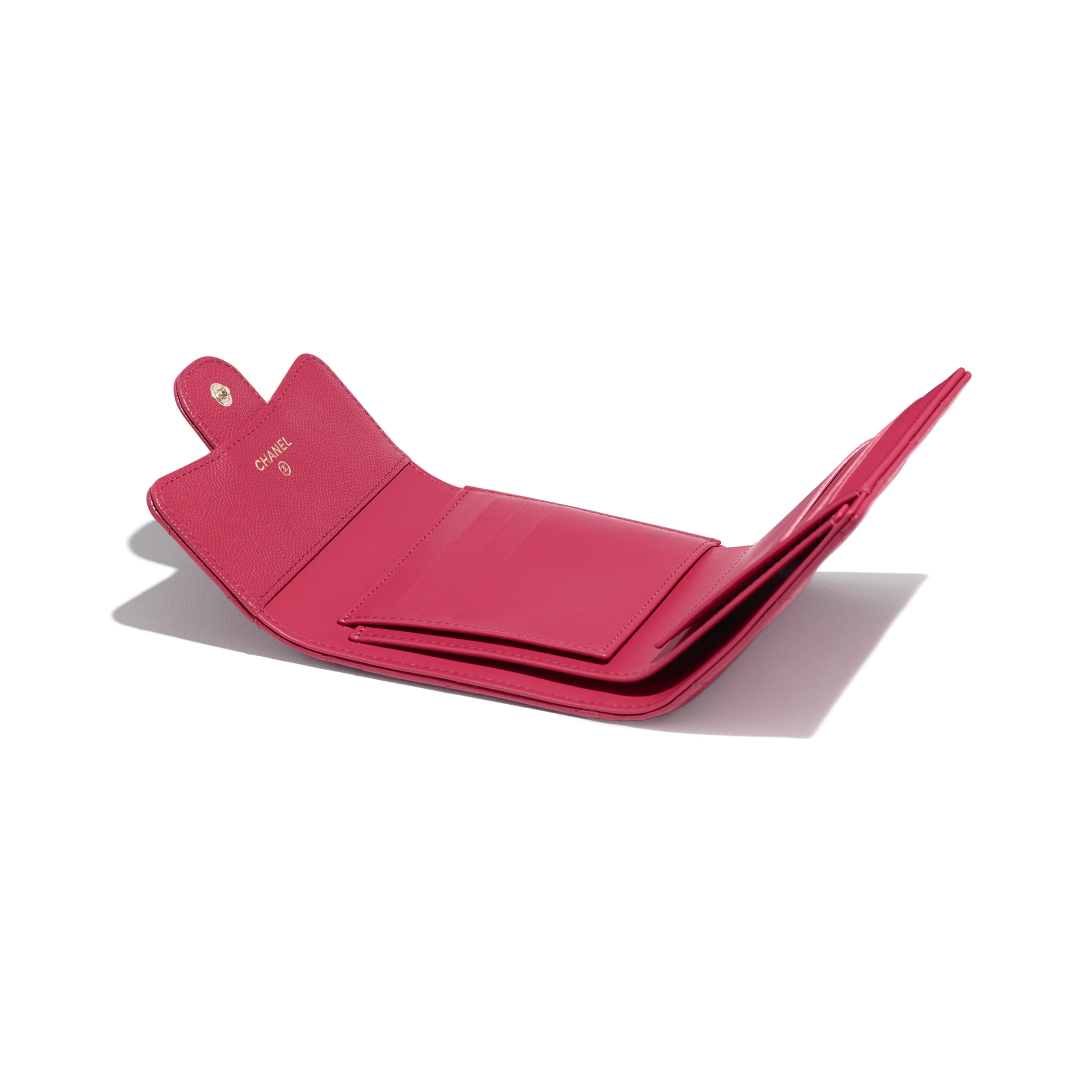 Classic Small Flap Wallet - Dark Pink - Grained Calfskin & Gold-Tone Metal - Extra view - see standard sized version
