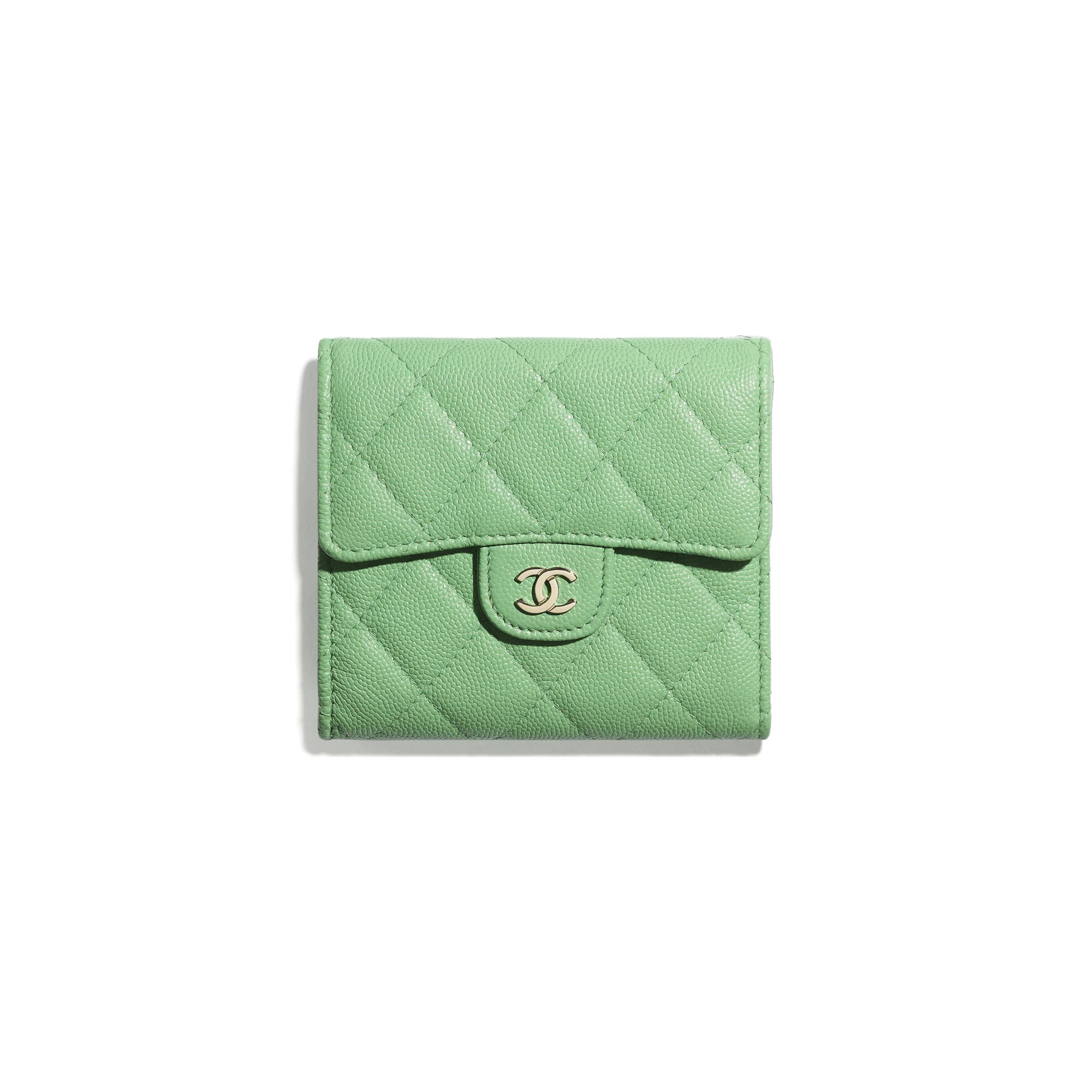 Classic Small Flap Wallet - Green - Grained Calfskin & Gold-Tone Metal - CHANEL - Default view - see standard sized version