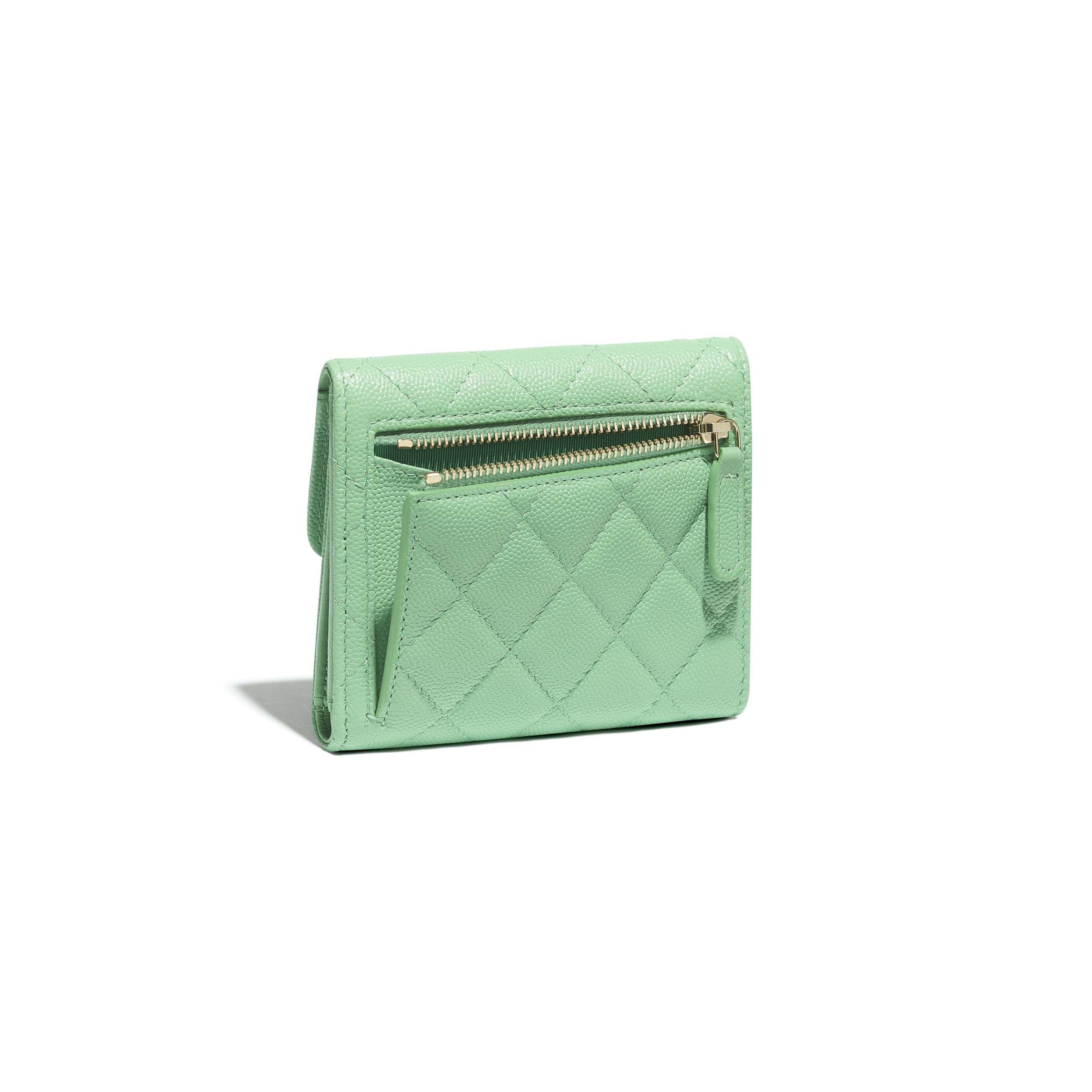 Classic Small Flap Wallet - Green - Grained Calfskin & Gold-Tone Metal - CHANEL - Extra view - see standard sized version