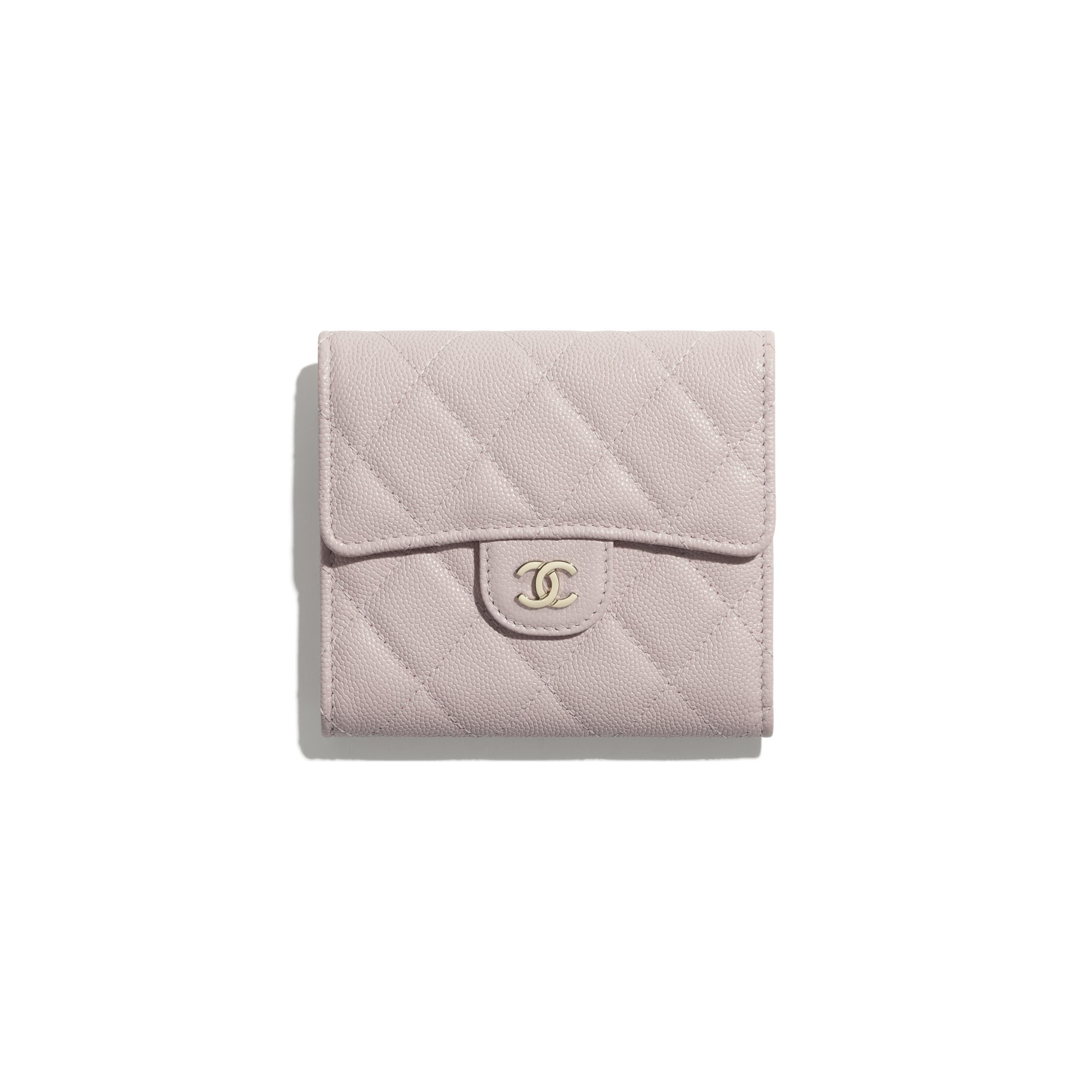 Classic Small Flap Wallet - Light Pink - Grained Calfskin & Gold-Tone Metal - CHANEL - Default view - see standard sized version