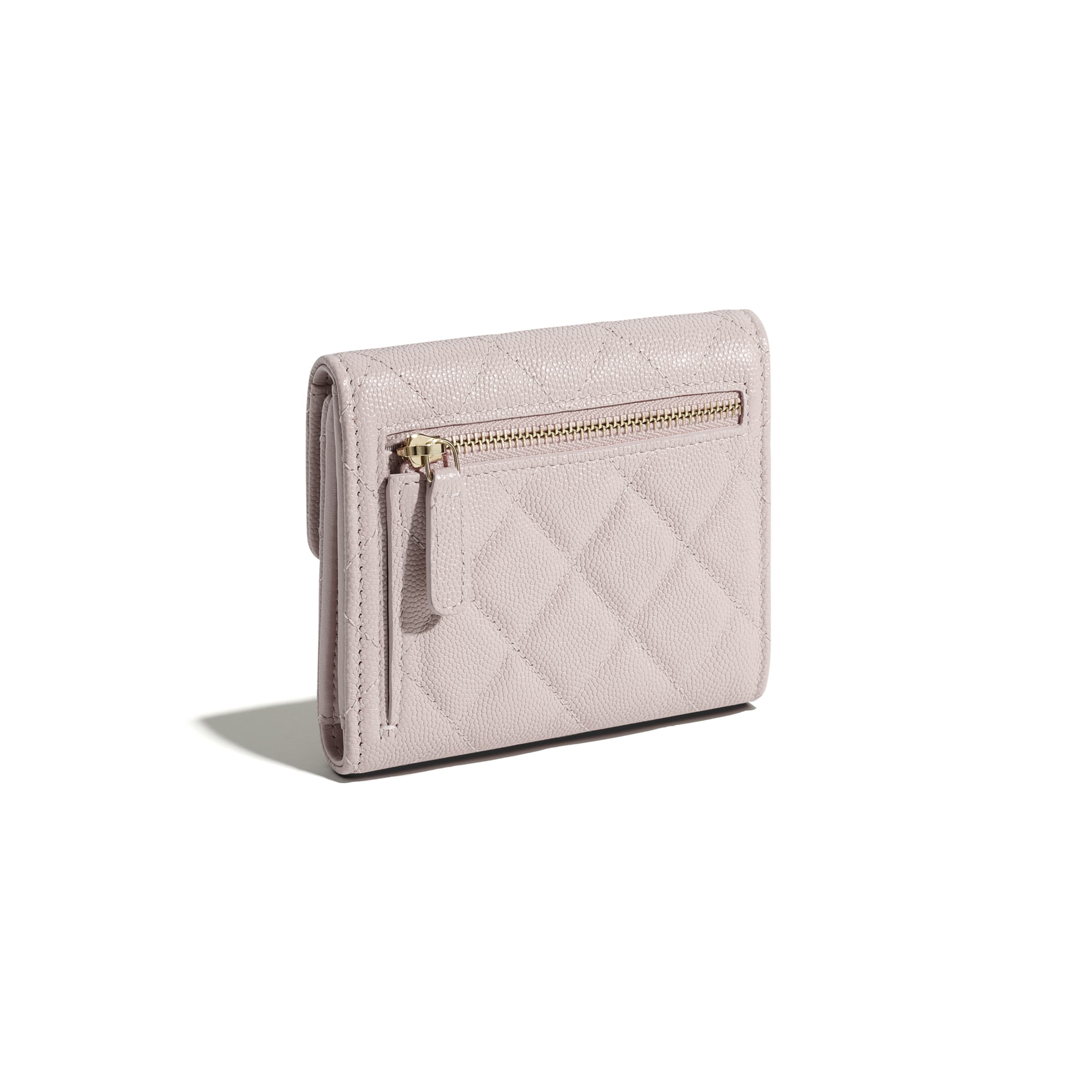 Classic Small Flap Wallet - Light Pink - Grained Calfskin & Gold-Tone Metal - CHANEL - Extra view - see standard sized version