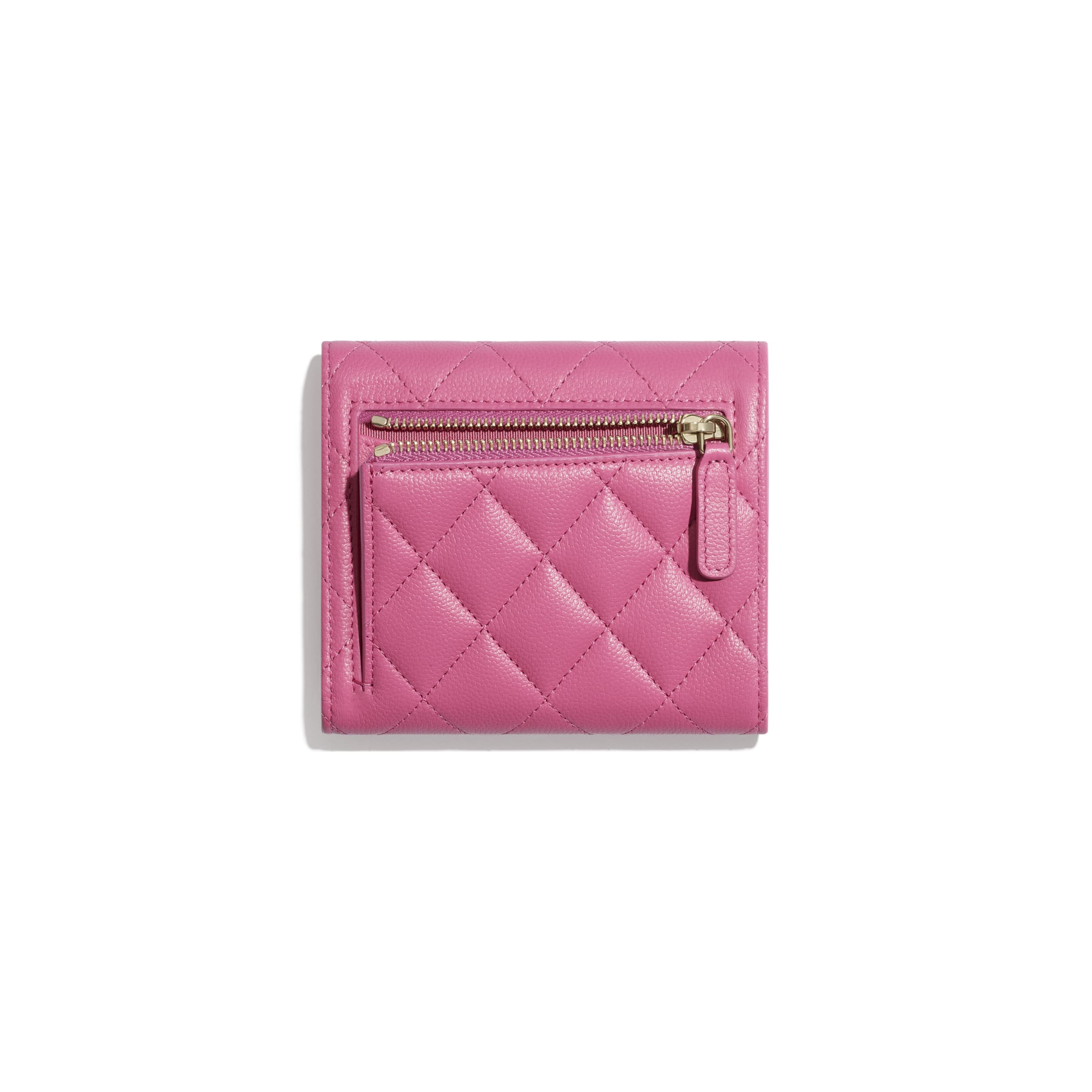 Classic Small Flap Wallet - Pink - Grained Shiny Calfskin & Gold-Tone Metal - CHANEL - Alternative view - see standard sized version