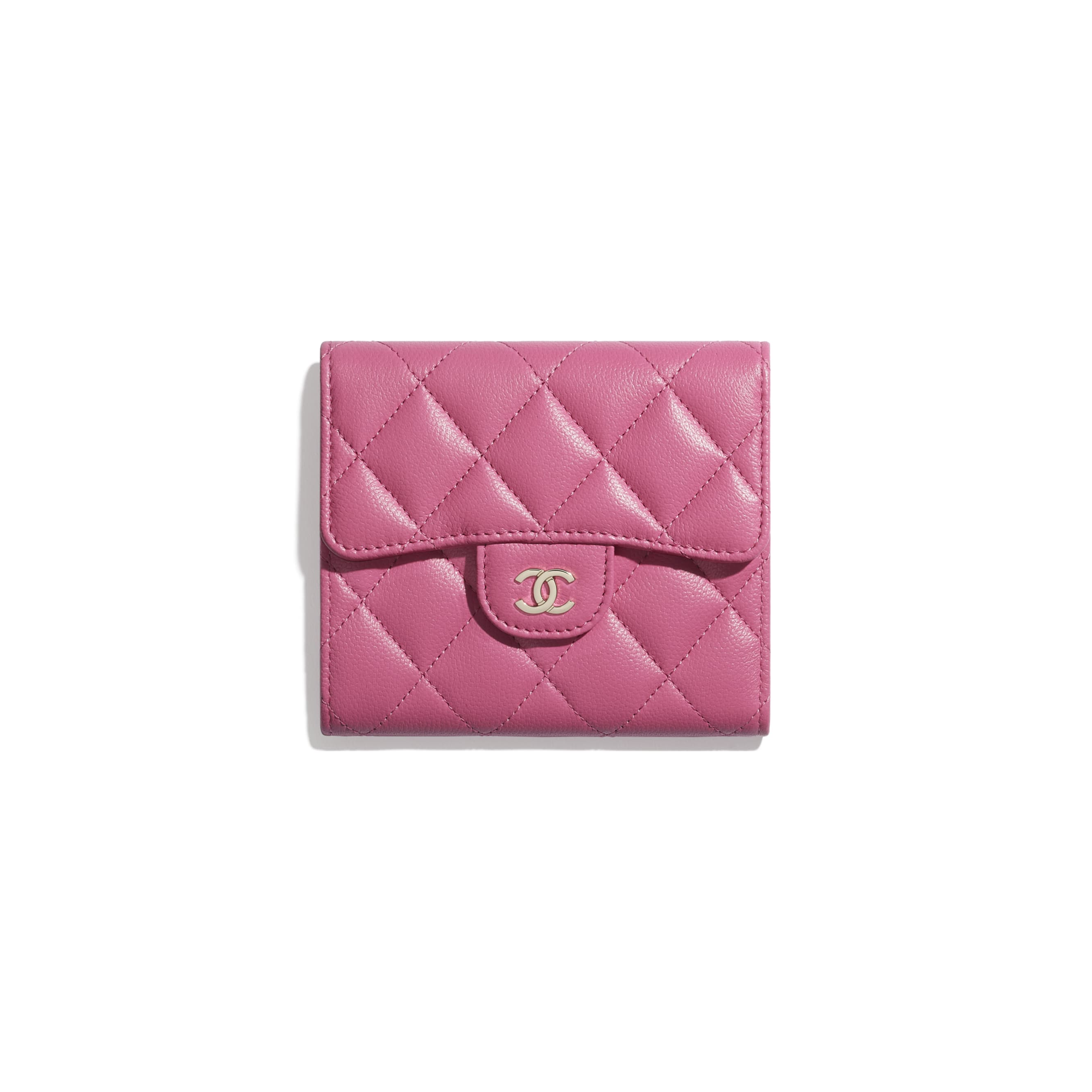 Classic Small Flap Wallet - Pink - Grained Shiny Calfskin & Gold-Tone Metal - CHANEL - Default view - see standard sized version