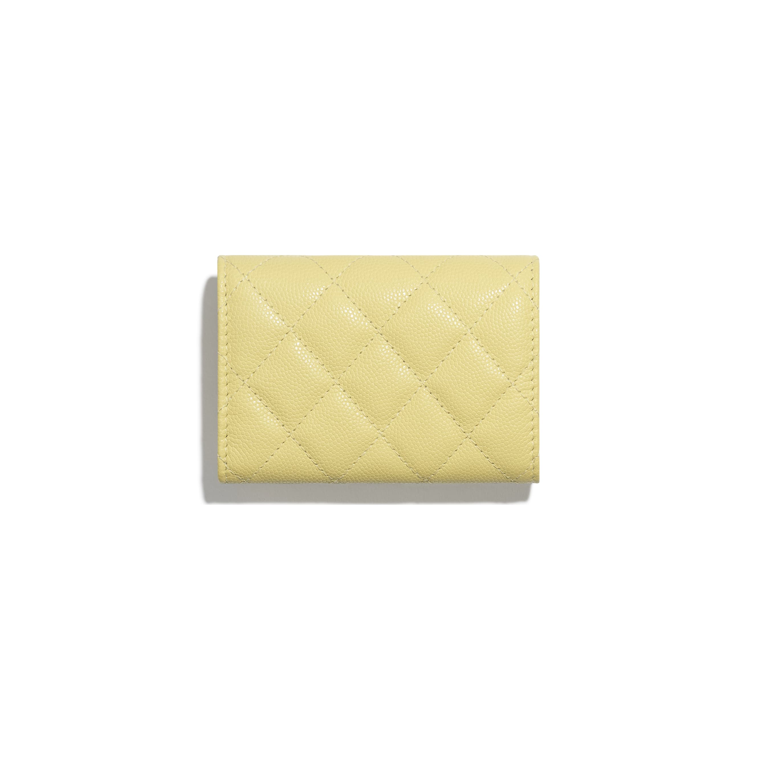 Classic Small Flap Wallet - Yellow - Grained Calfskin & Gold-Tone Metal - CHANEL - Alternative view - see standard sized version