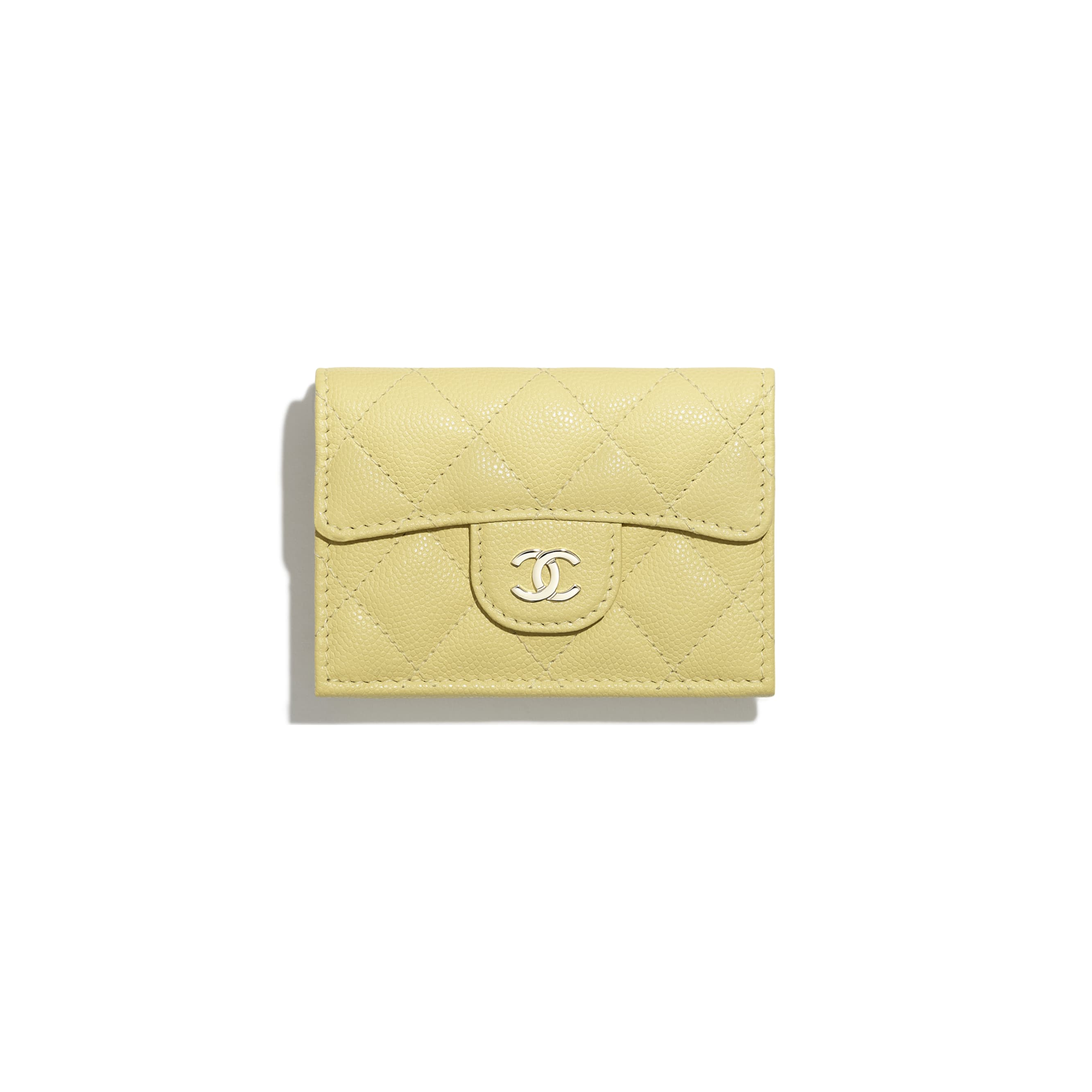 Classic Small Flap Wallet - Yellow - Grained Calfskin & Gold-Tone Metal - CHANEL - Default view - see standard sized version