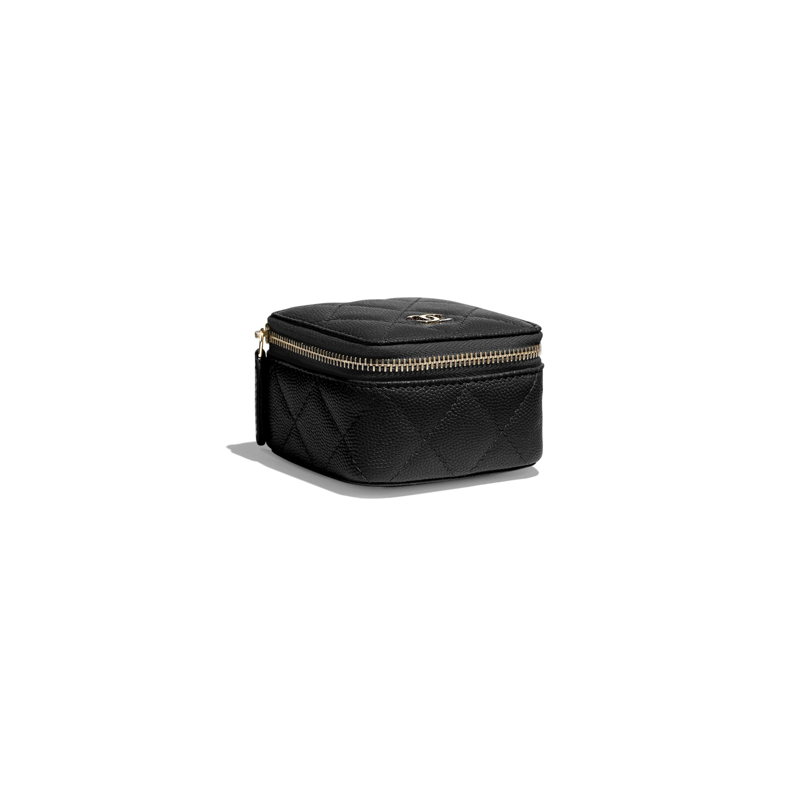 Classic Small Jewellery Pouch - Black - Grained Calfskin & Gold-Tone Metal - Extra view - see standard sized version