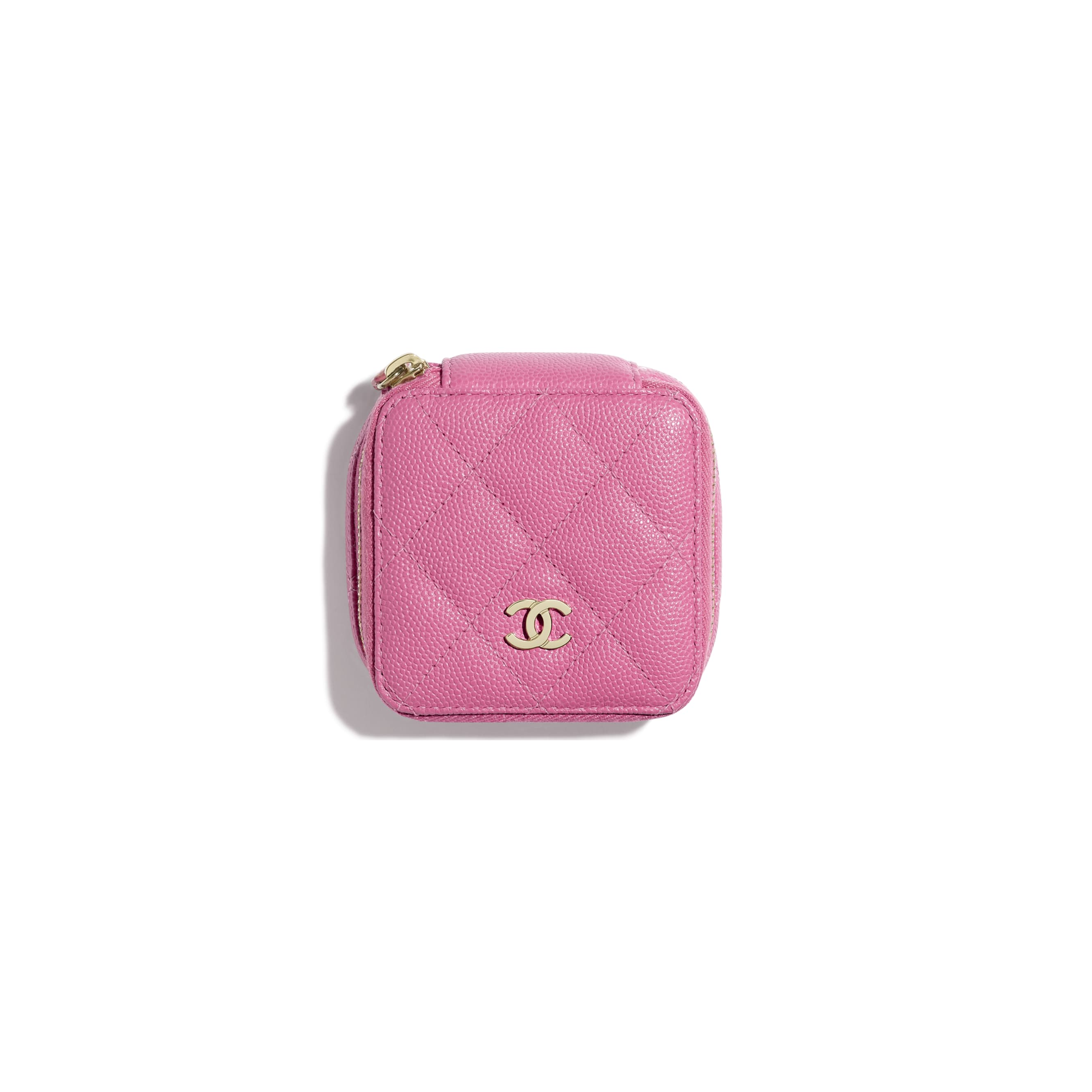 Classic Small Jewellery Pouch - Pink - Grained Calfskin & Gold-Tone Metal - Alternative view - see standard sized version