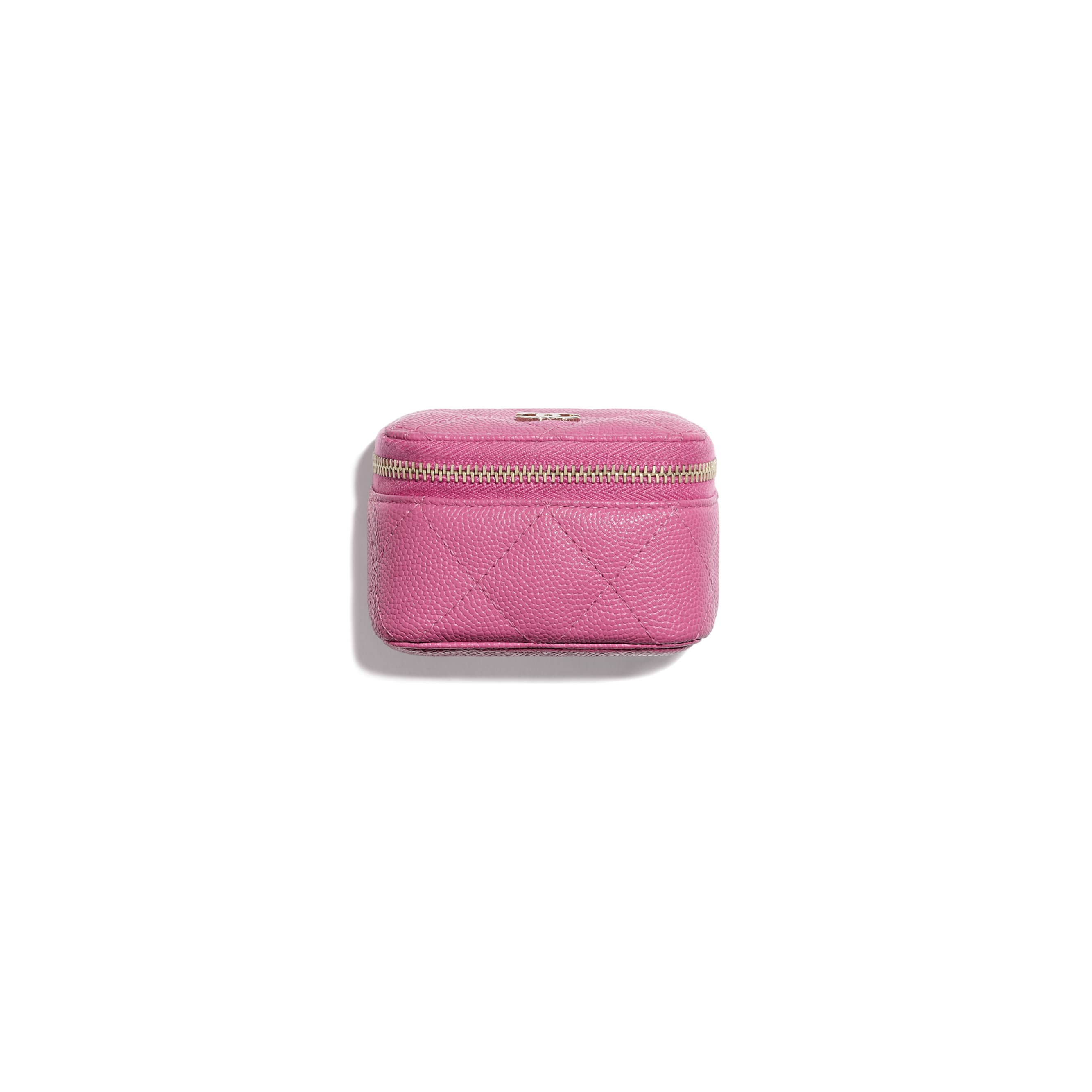 Classic Small Jewellery Pouch - Pink - Grained Calfskin & Gold-Tone Metal - Default view - see standard sized version