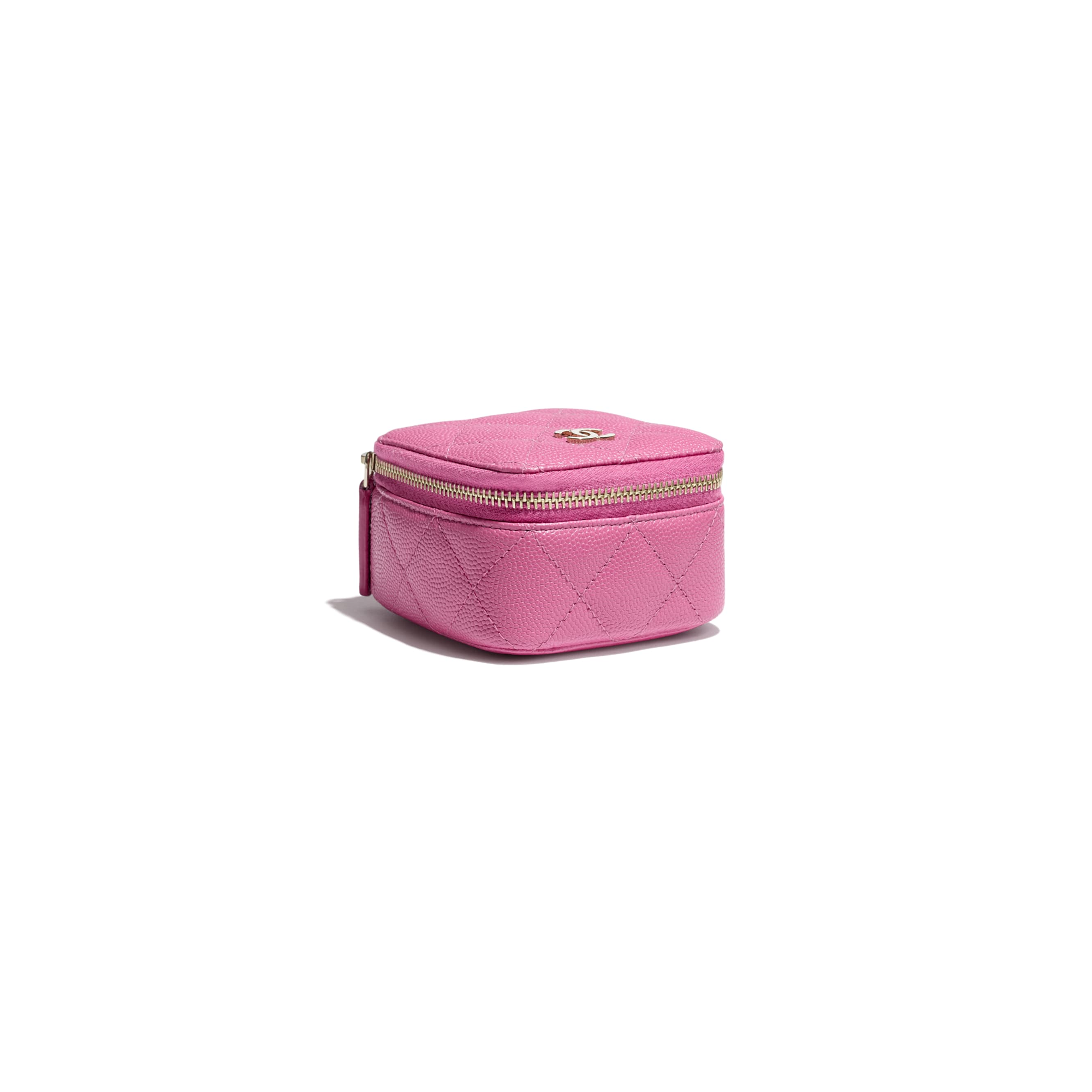 Classic Small Jewellery Pouch - Pink - Grained Calfskin & Gold-Tone Metal - Extra view - see standard sized version