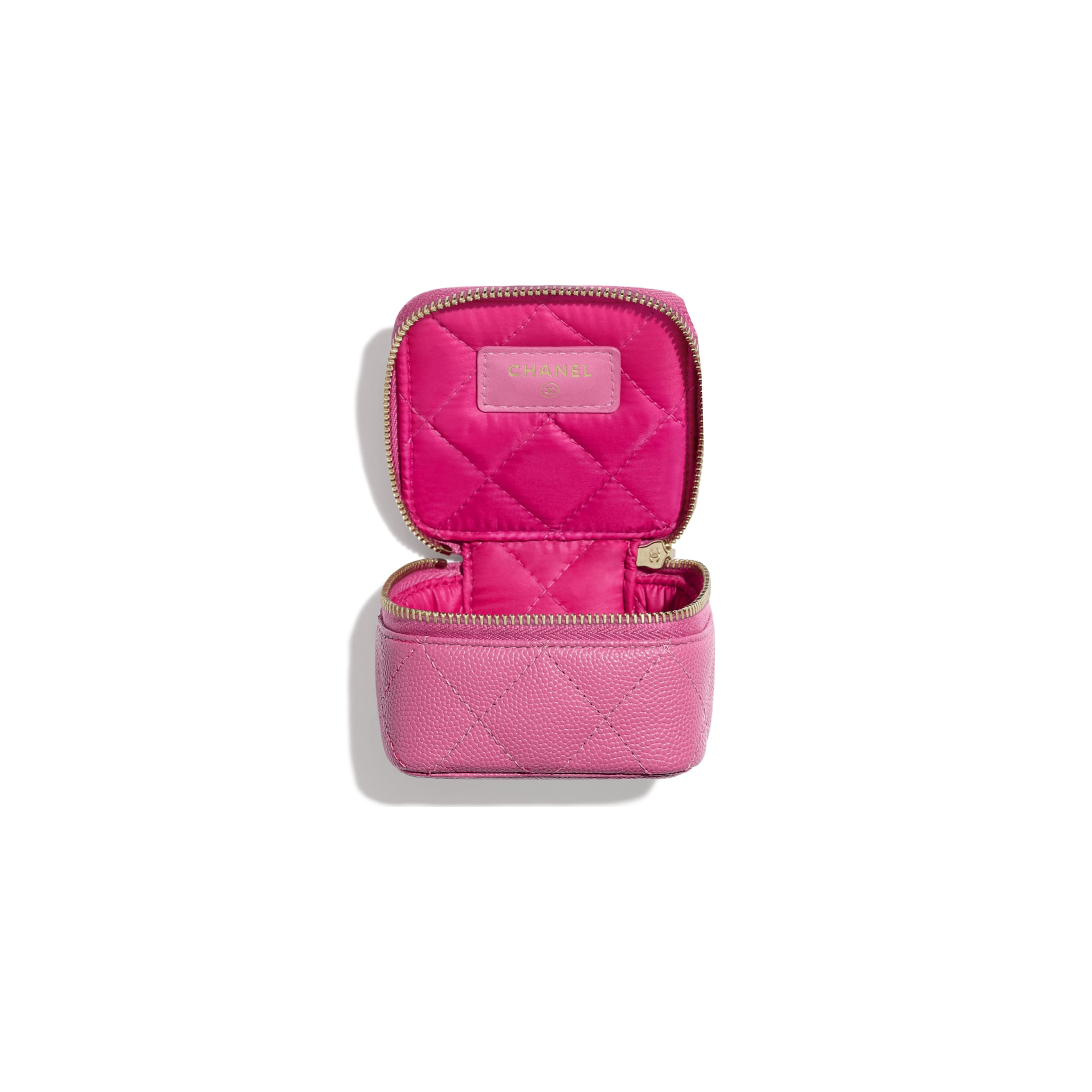 Classic Small Jewellery Pouch - Pink - Grained Calfskin & Gold-Tone Metal - Other view - see standard sized version
