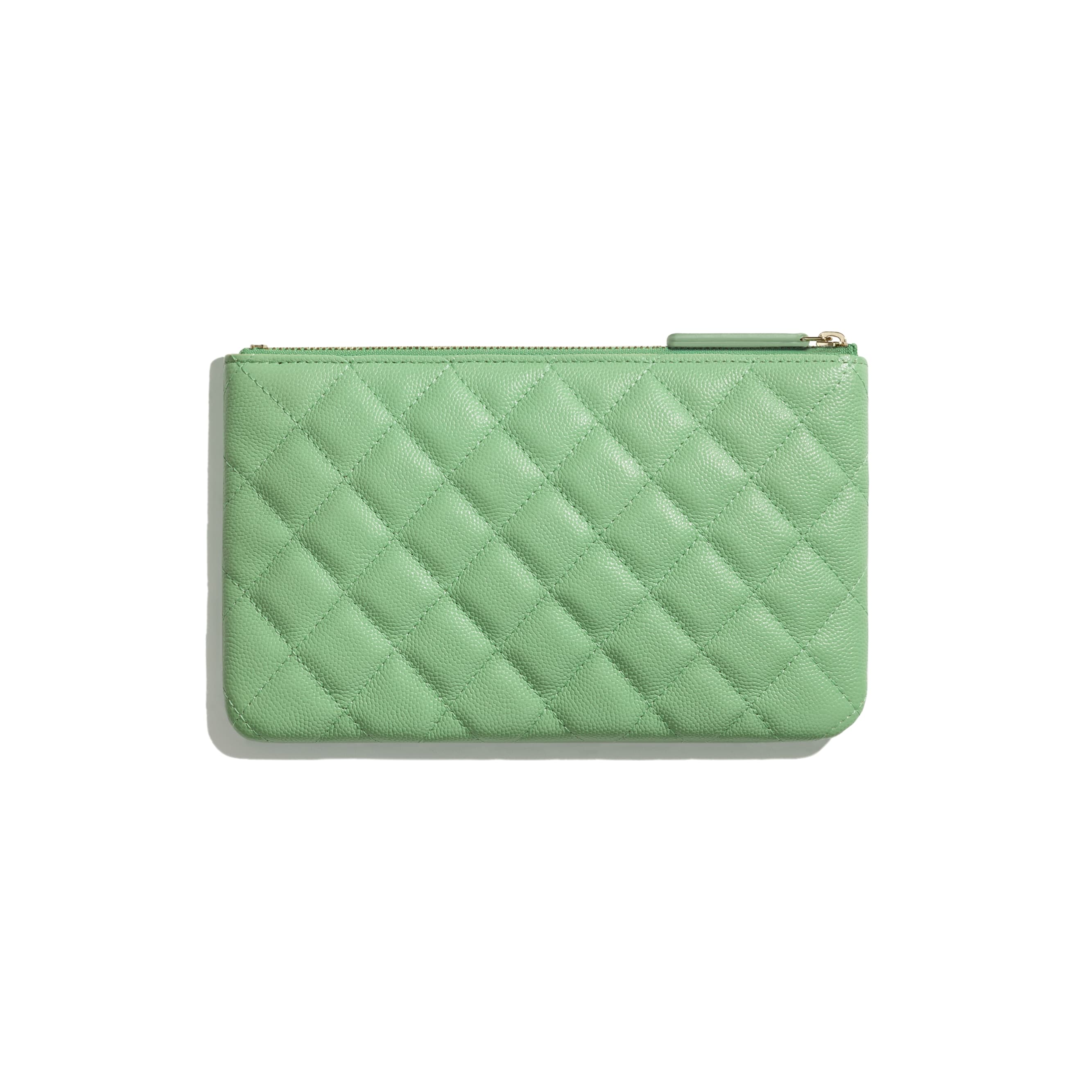 Classic Small Pouch - Green - Grained Calfskin & Gold-Tone Metal - CHANEL - Alternative view - see standard sized version