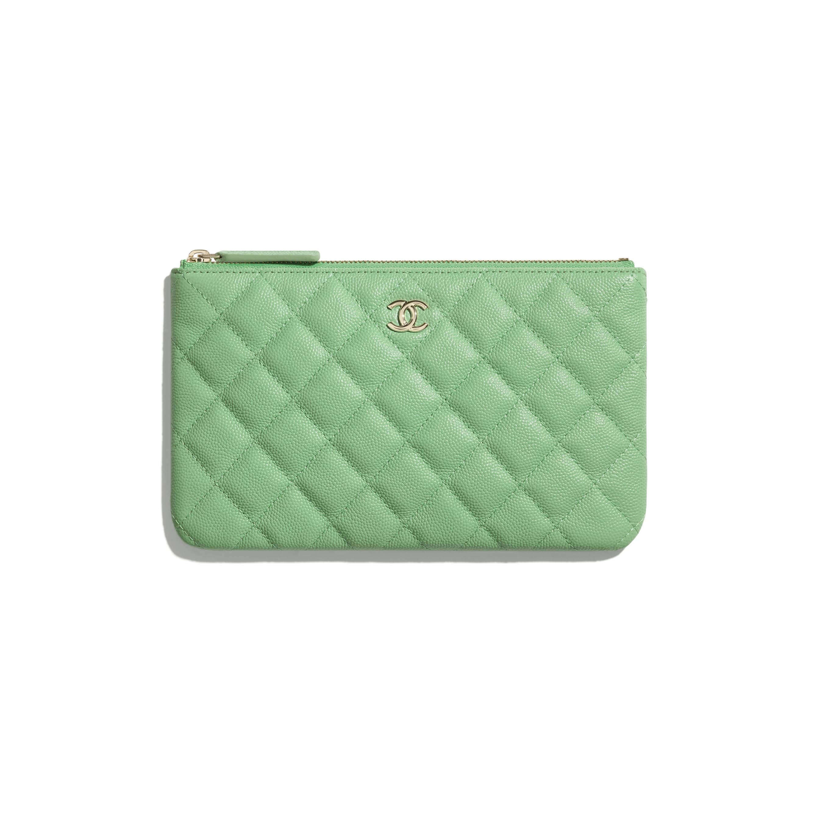 Classic Small Pouch - Green - Grained Calfskin & Gold-Tone Metal - CHANEL - Default view - see standard sized version