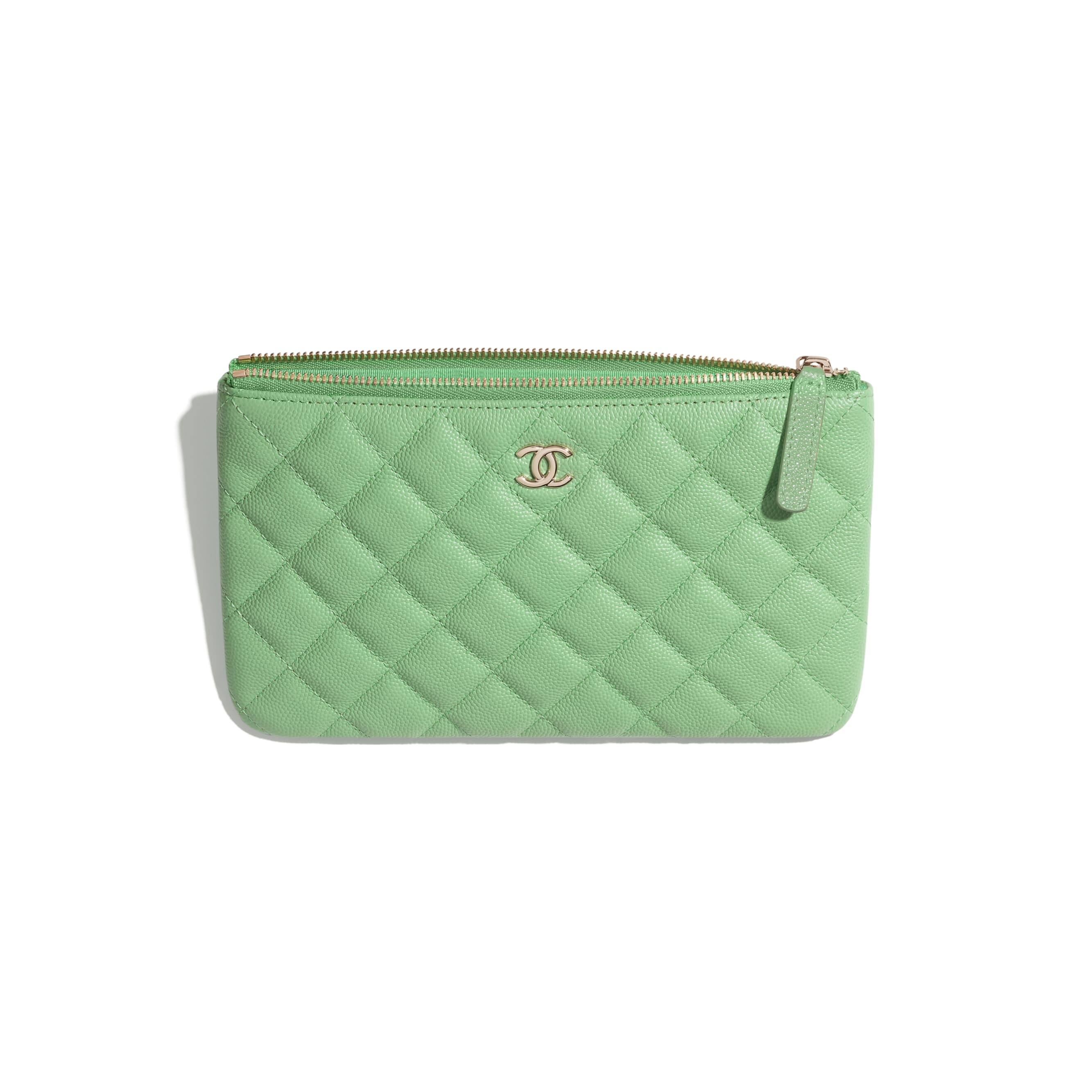 Classic Small Pouch - Green - Grained Calfskin & Gold-Tone Metal - CHANEL - Other view - see standard sized version