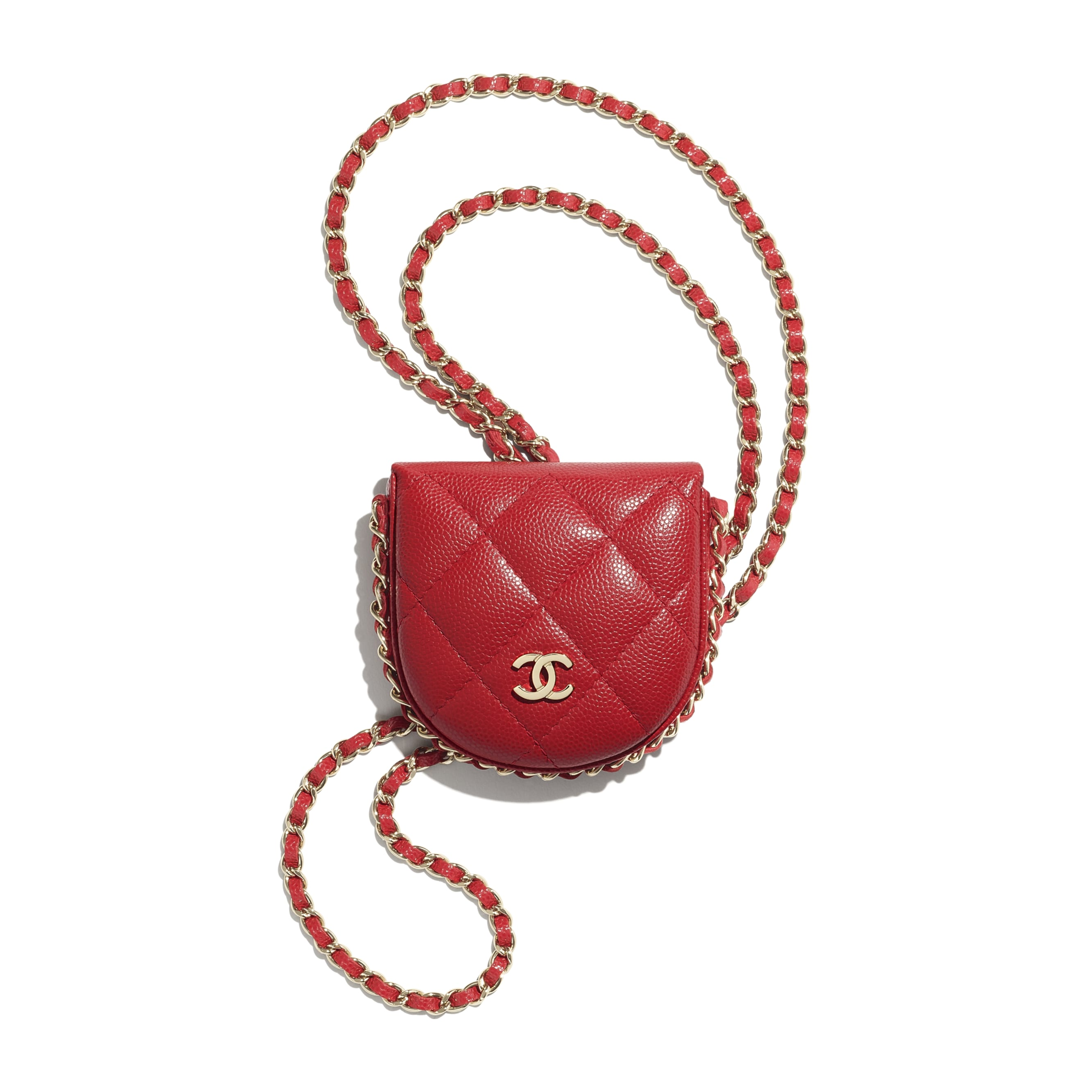 Classic Tray Coin Purse with Chain - Red - Grained Calfskin & Gold-Tone Metal - CHANEL - Default view - see standard sized version
