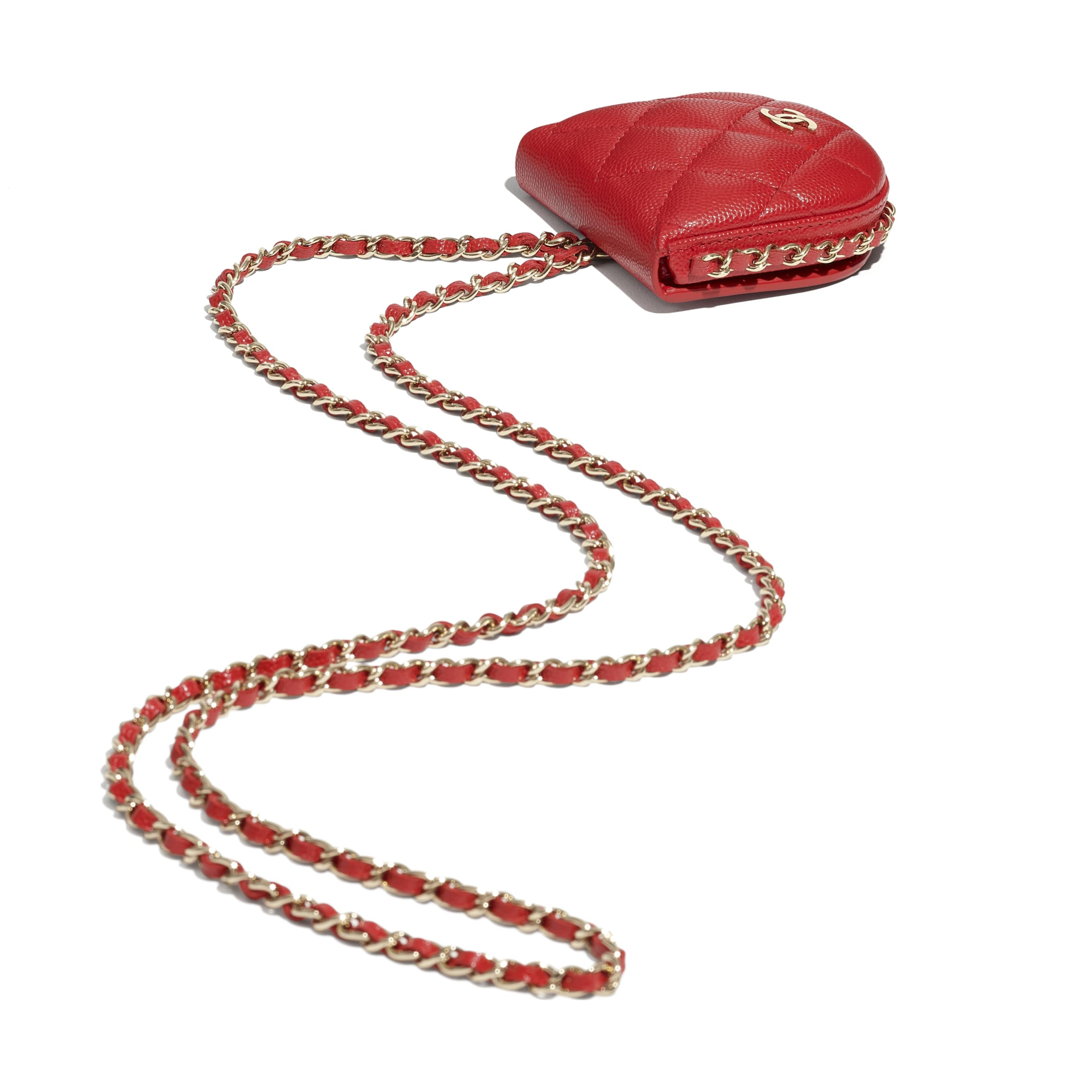 Classic Tray Coin Purse with Chain - Red - Grained Calfskin & Gold-Tone Metal - CHANEL - Extra view - see standard sized version