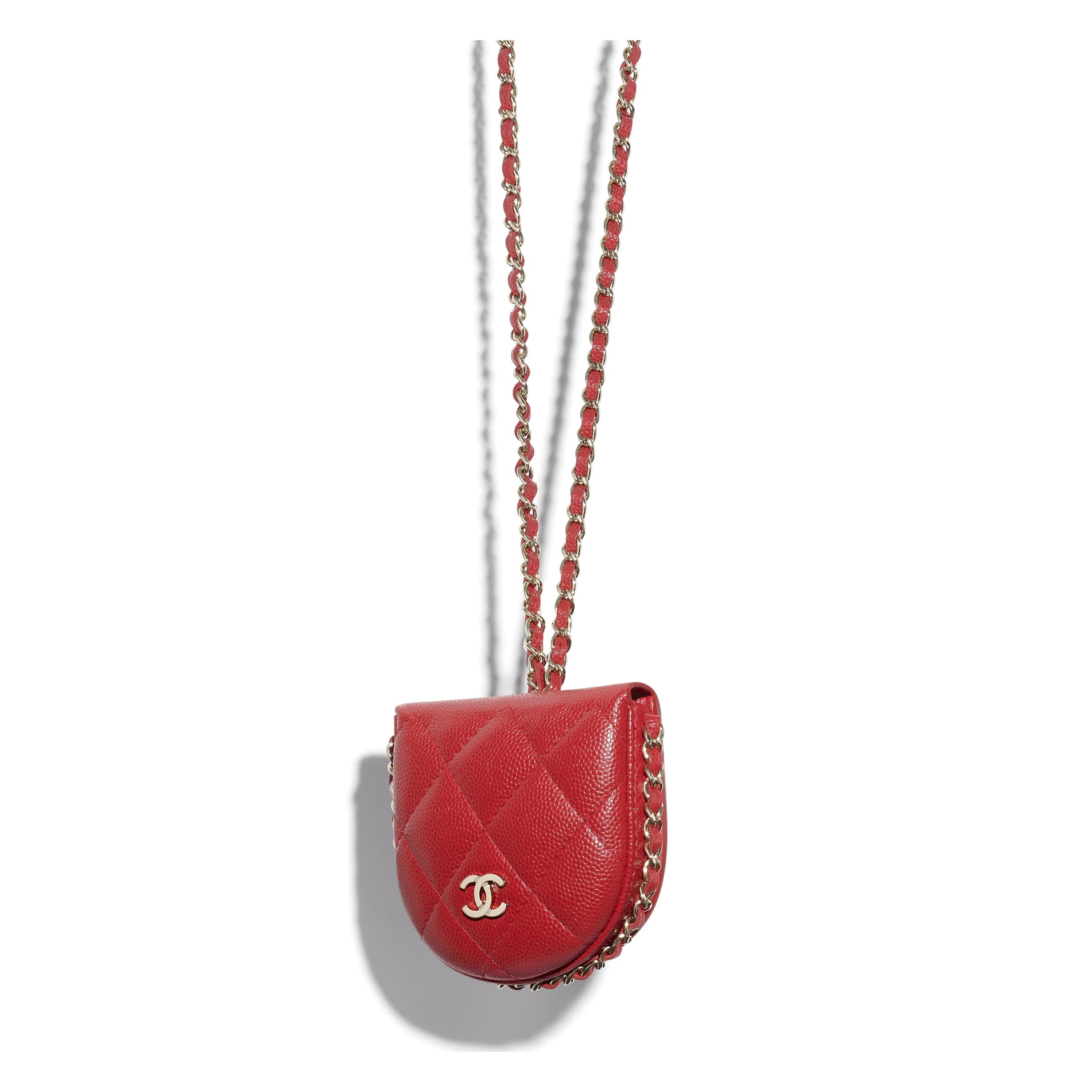 Classic Tray Coin Purse with Chain - Red - Grained Calfskin & Gold-Tone Metal - CHANEL - Other view - see standard sized version