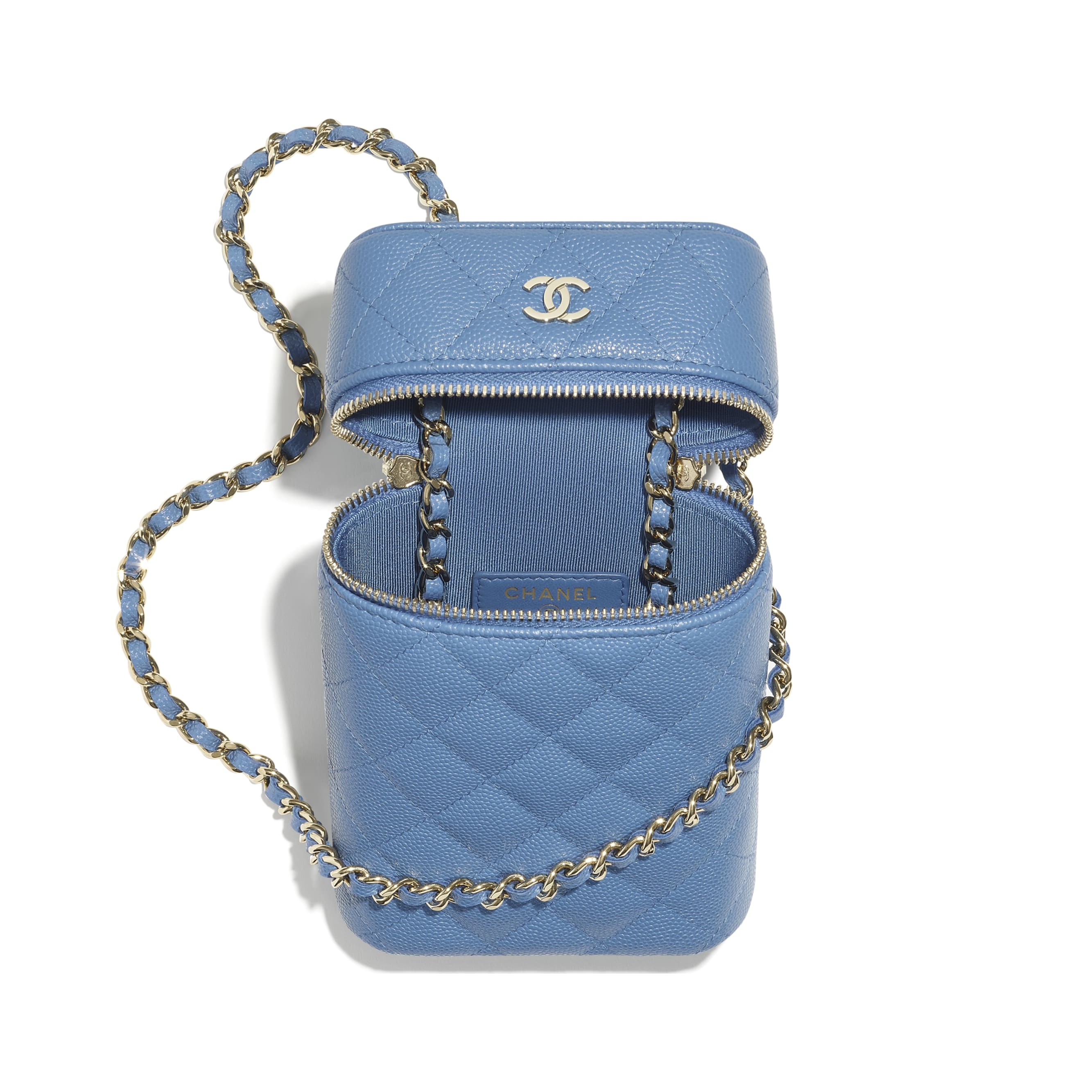 Classic Vanity Phone Holder with Chain - Blue - Grained Calfskin & Gold-Tone Metal - CHANEL - Alternative view - see standard sized version