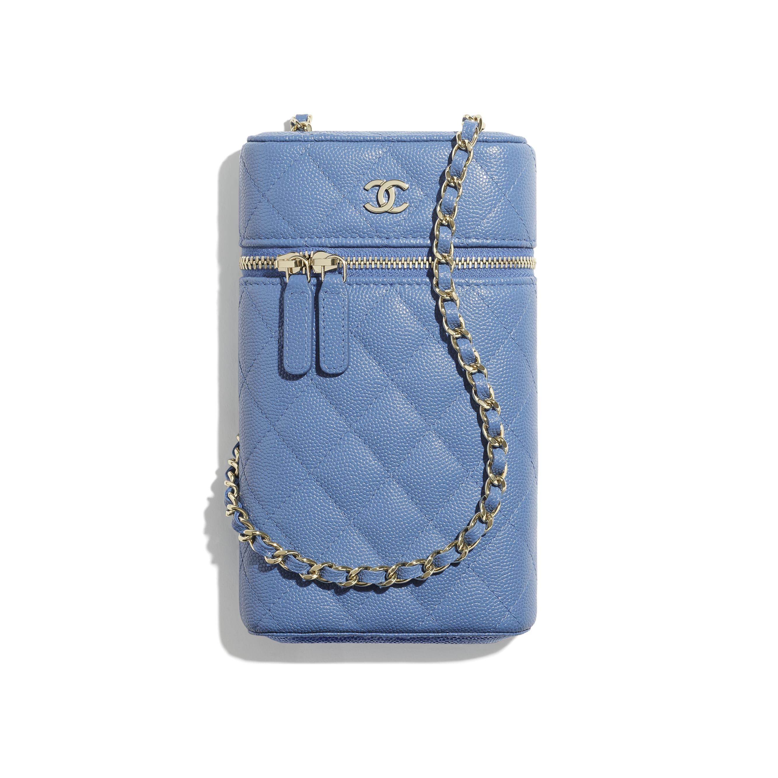 Classic Vanity Phone Holder with Chain - Blue - Grained Calfskin & Gold-Tone Metal - CHANEL - Default view - see standard sized version