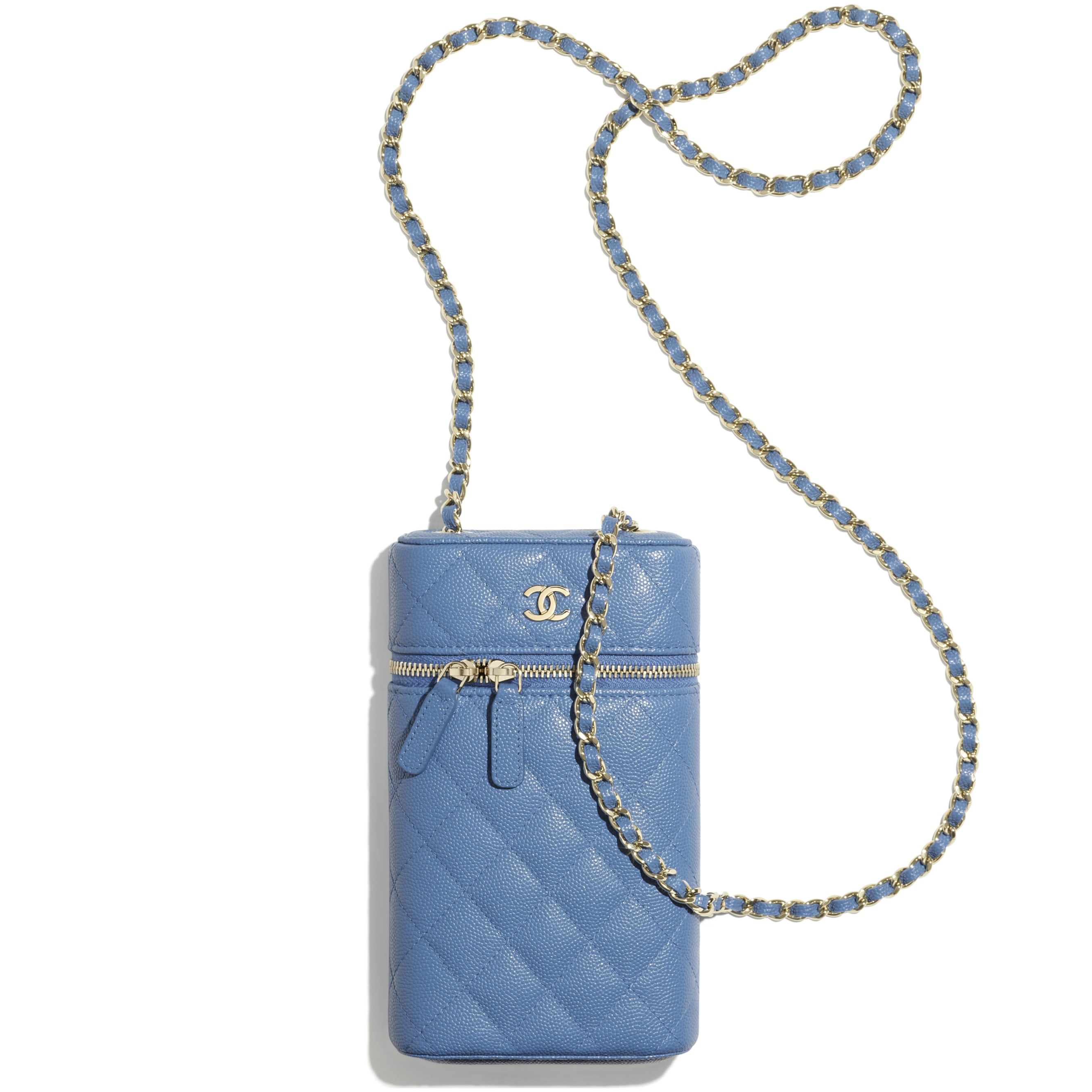 Classic Vanity Phone Holder with Chain - Blue - Grained Calfskin & Gold-Tone Metal - CHANEL - Other view - see standard sized version
