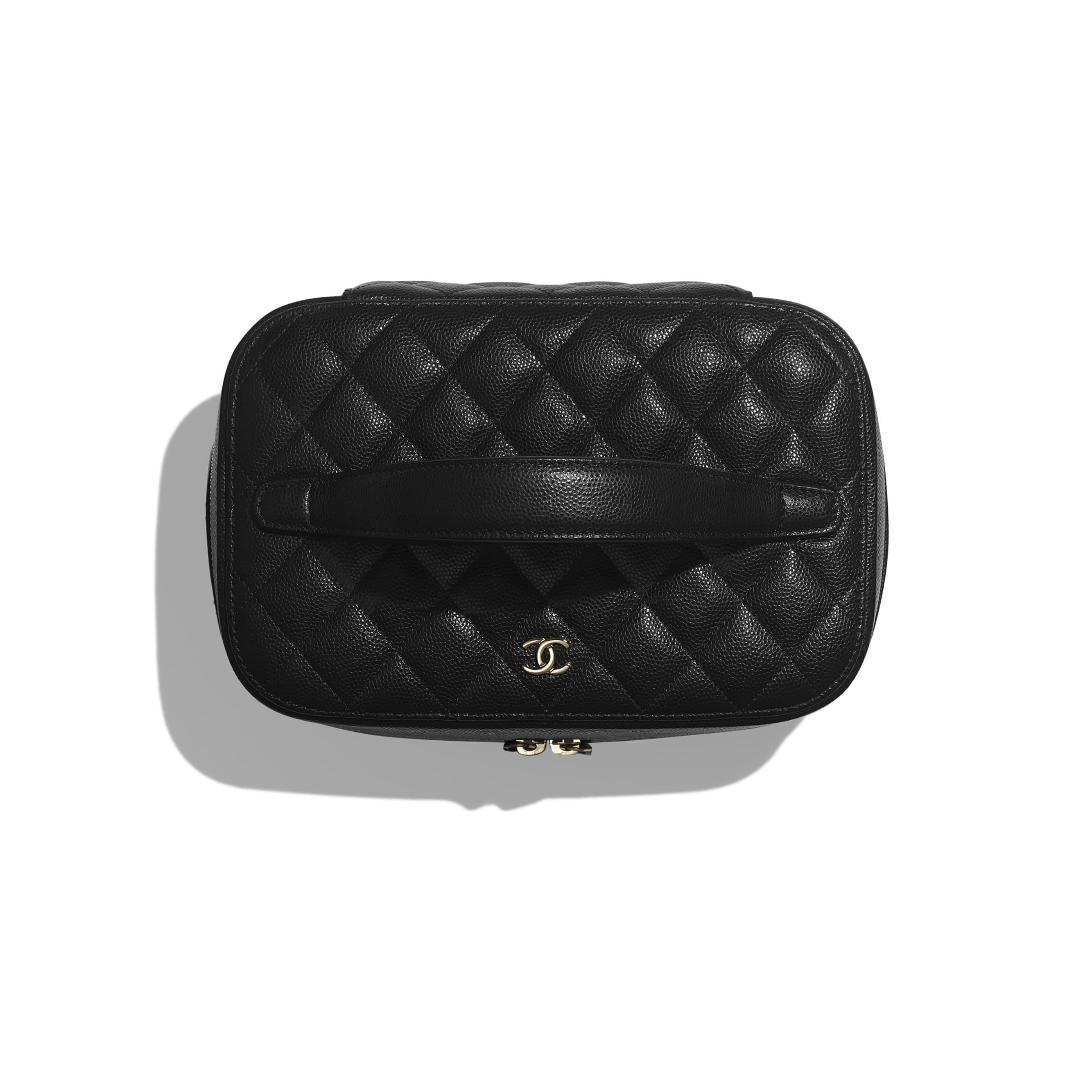 Classic Vanity Pouch - Black - Grained Calfskin & Gold-Tone Metal - Alternative view - see standard sized version