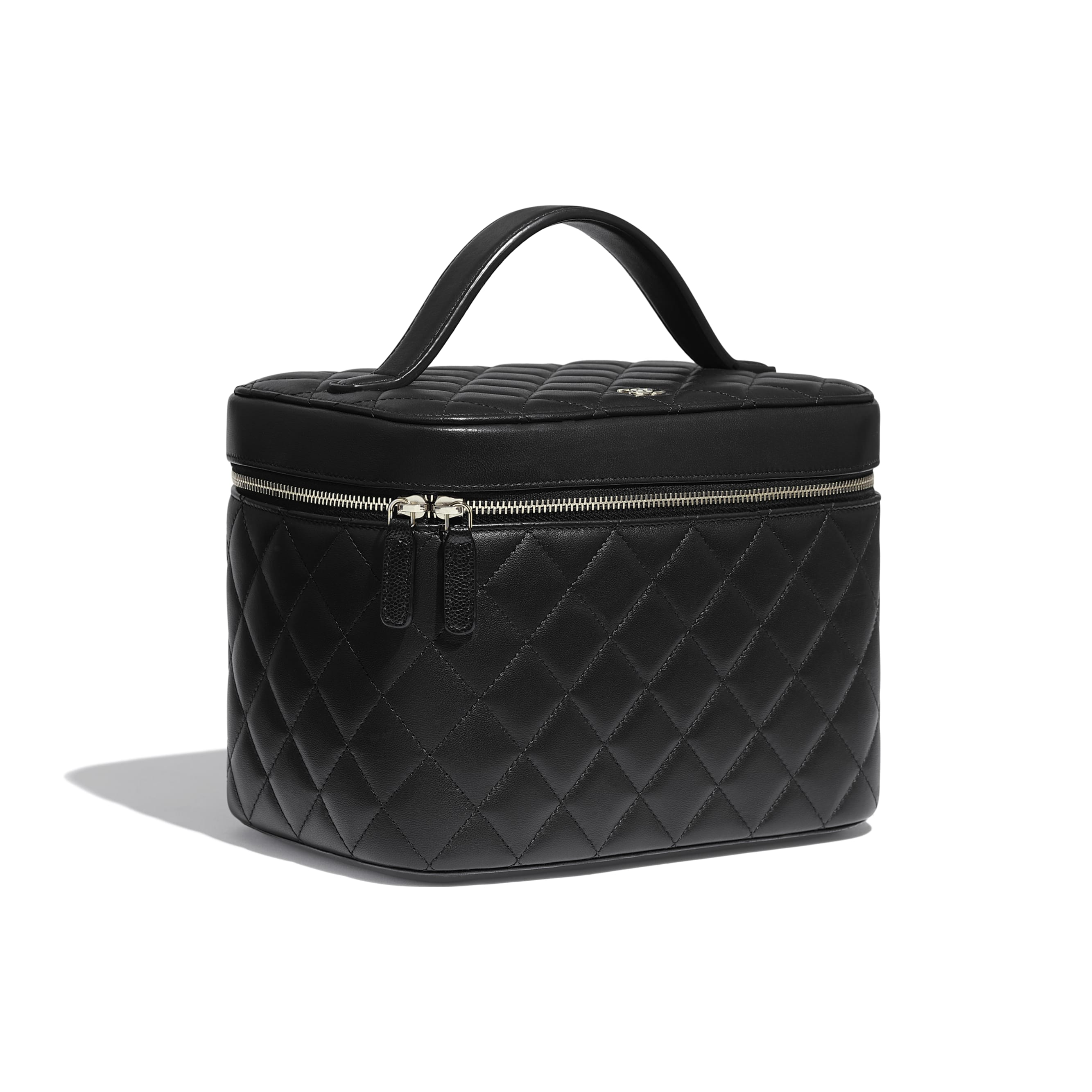Classic Vanity Pouch - Black - Grained Calfskin & Gold-Tone Metal - Extra view - see standard sized version