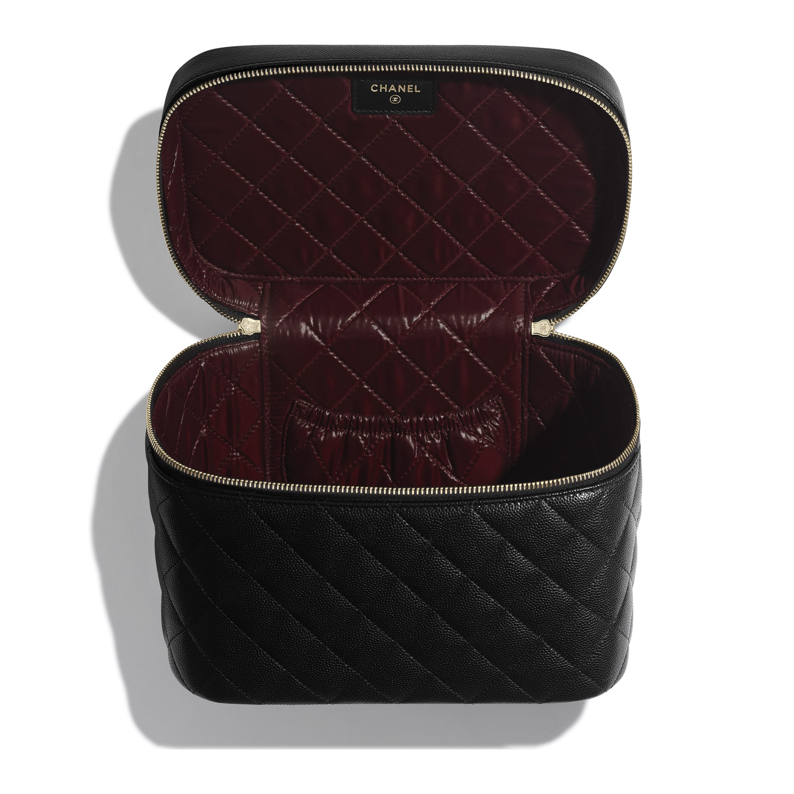 Classic Vanity Pouch - Black - Grained Calfskin & Gold-Tone Metal - Other view - see standard sized version