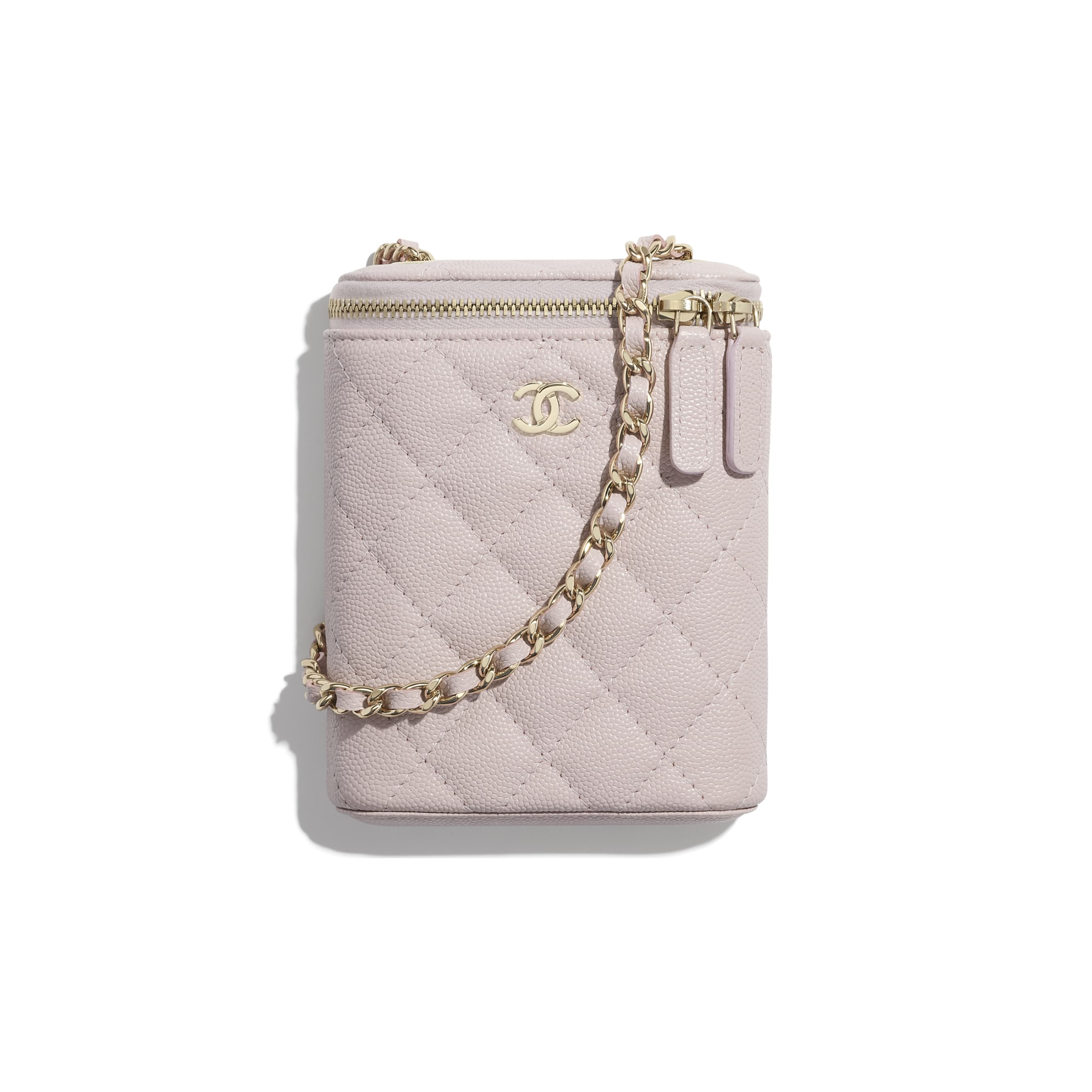 Classic Vanity with Chain - Light Pink - Grained Calfskin & Gold-Tone Metal - CHANEL - Default view - see standard sized version