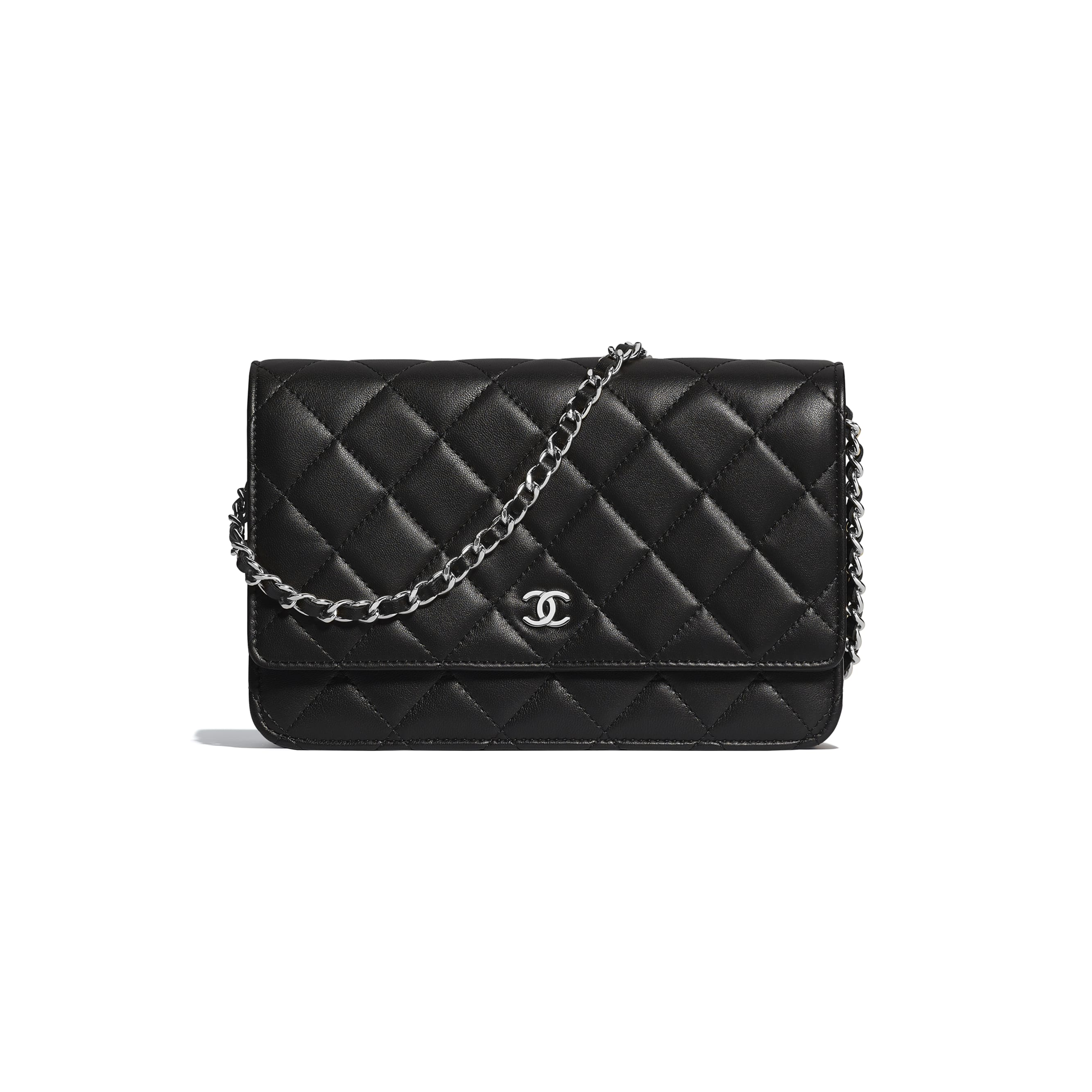 Classic Wallet on Chain - Black - Lambskin & Silver-Tone Metal - Default view - see standard sized version
