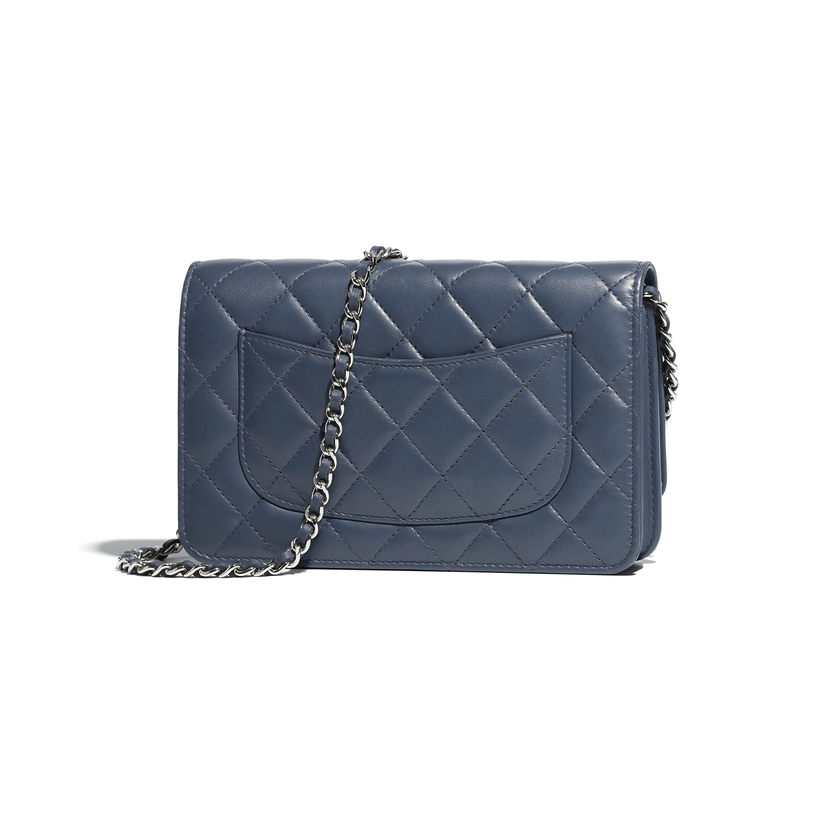 Classic Wallet on Chain - Blue - Lambskin & Silver-Tone Metal - Alternative view - see standard sized version
