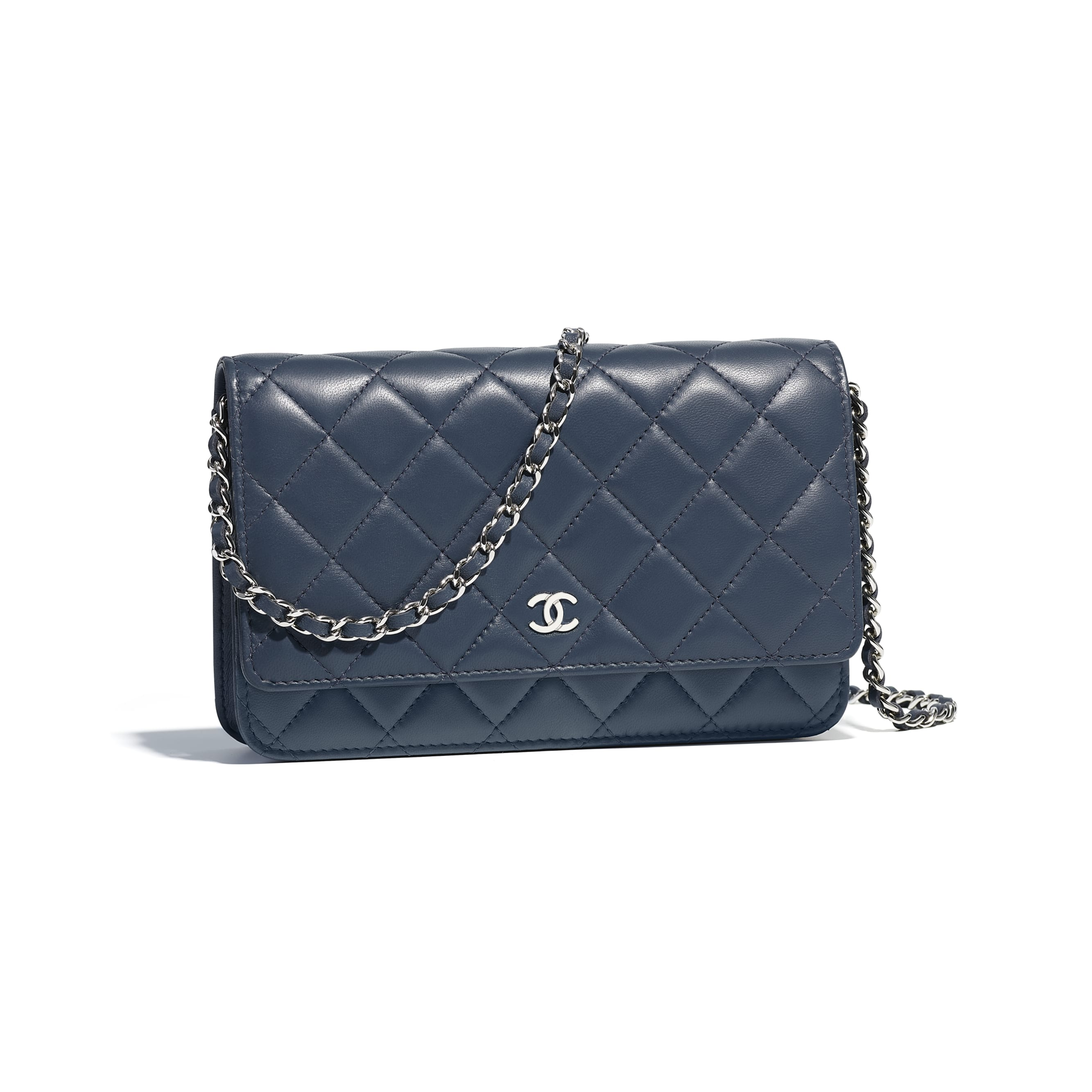 Classic Wallet on Chain - Blue - Lambskin & Silver-Tone Metal - Default view - see standard sized version